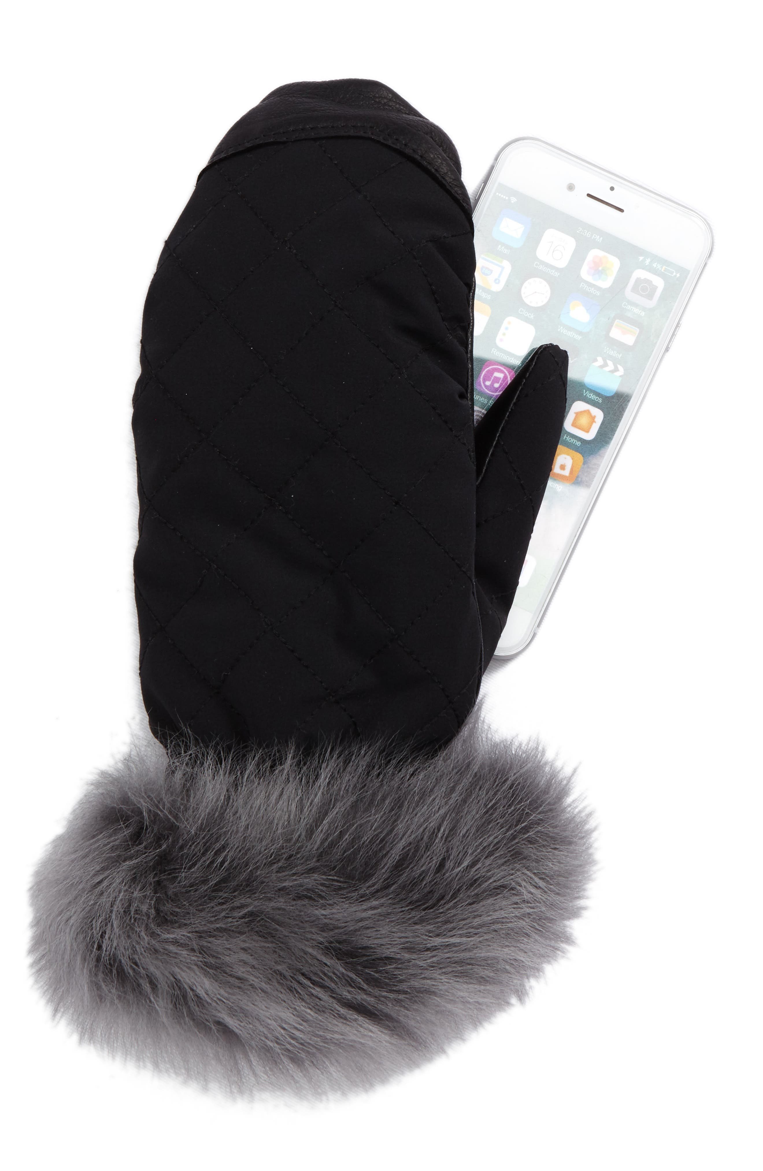 Quilted Water-Resistant Smart Mittens,                             Alternate thumbnail 2, color,
