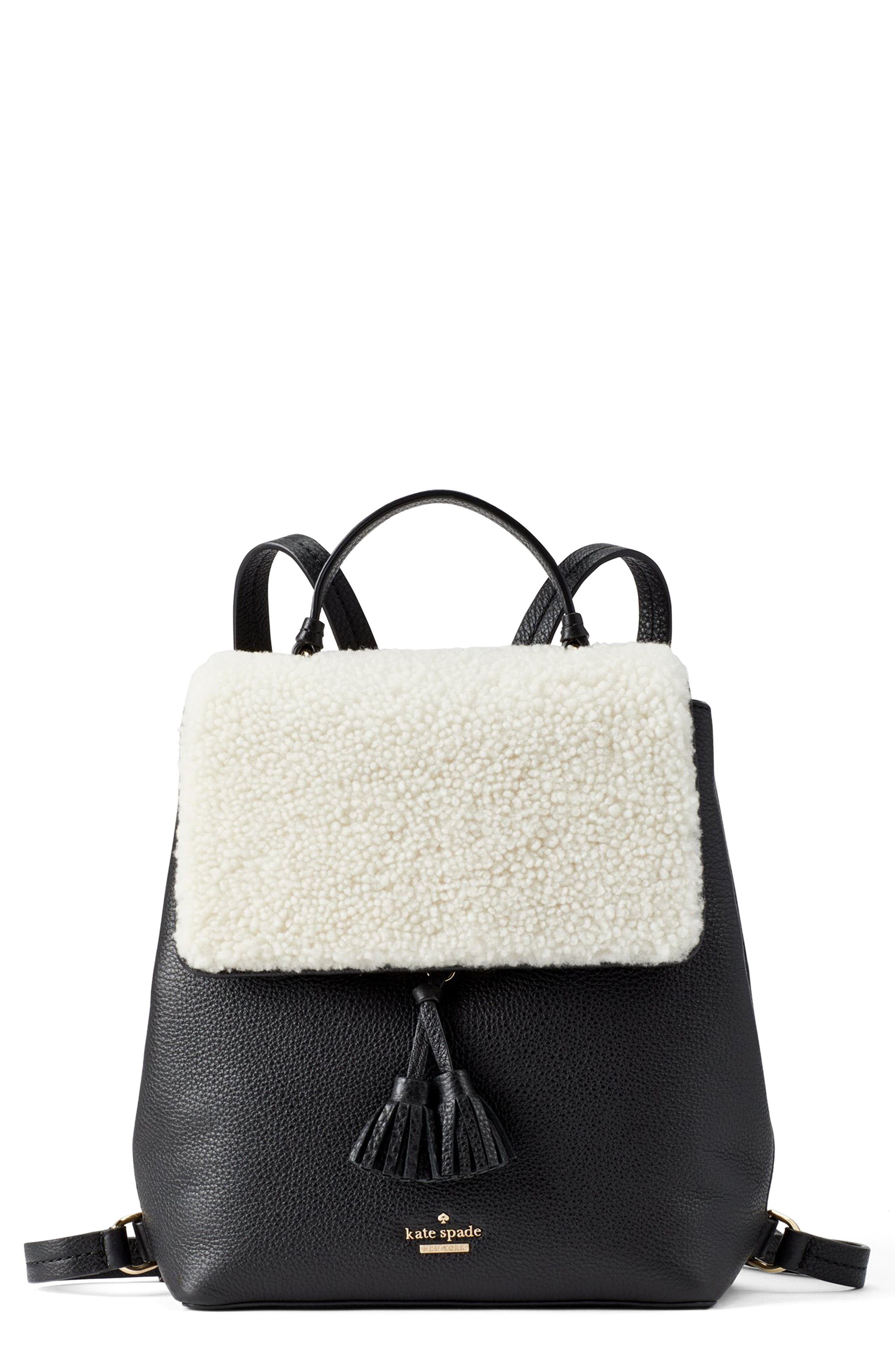 Hayes Street - Teba Genuine Shearling & Leather Backpack - Black in Cement