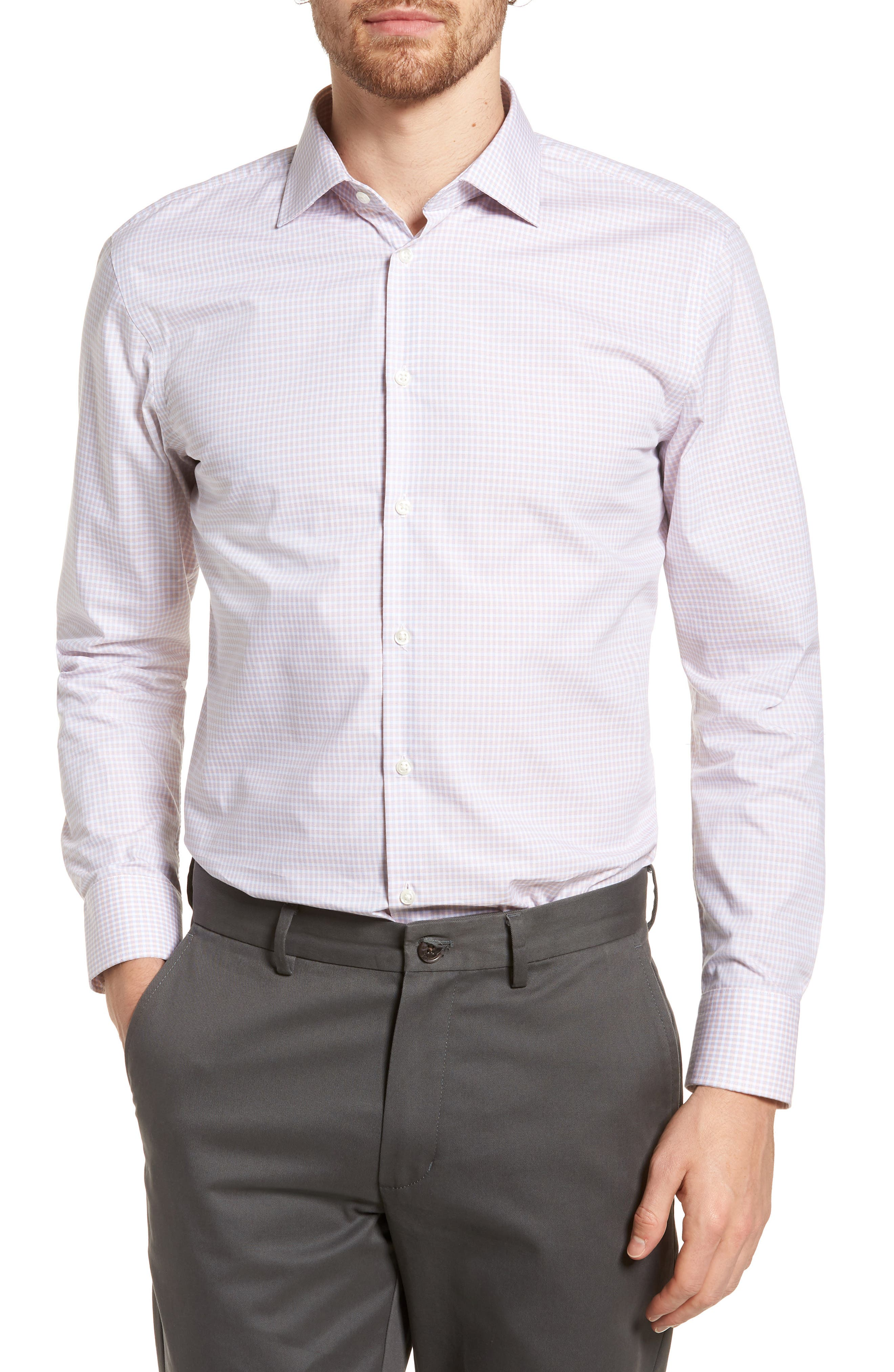 Extra Trim Fit Non-Iron Check Dress Shirt,                             Main thumbnail 3, color,