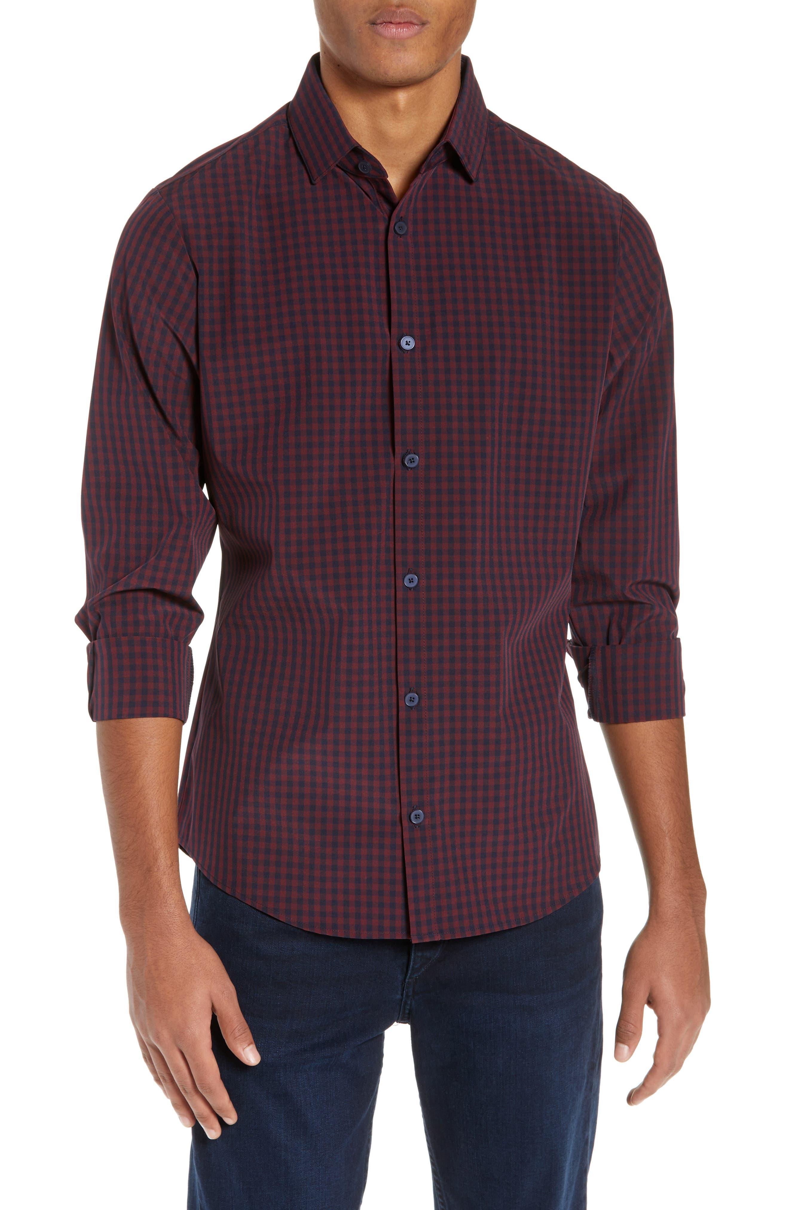 Marshall Check Sport Shirt,                         Main,                         color, BURGUNDY