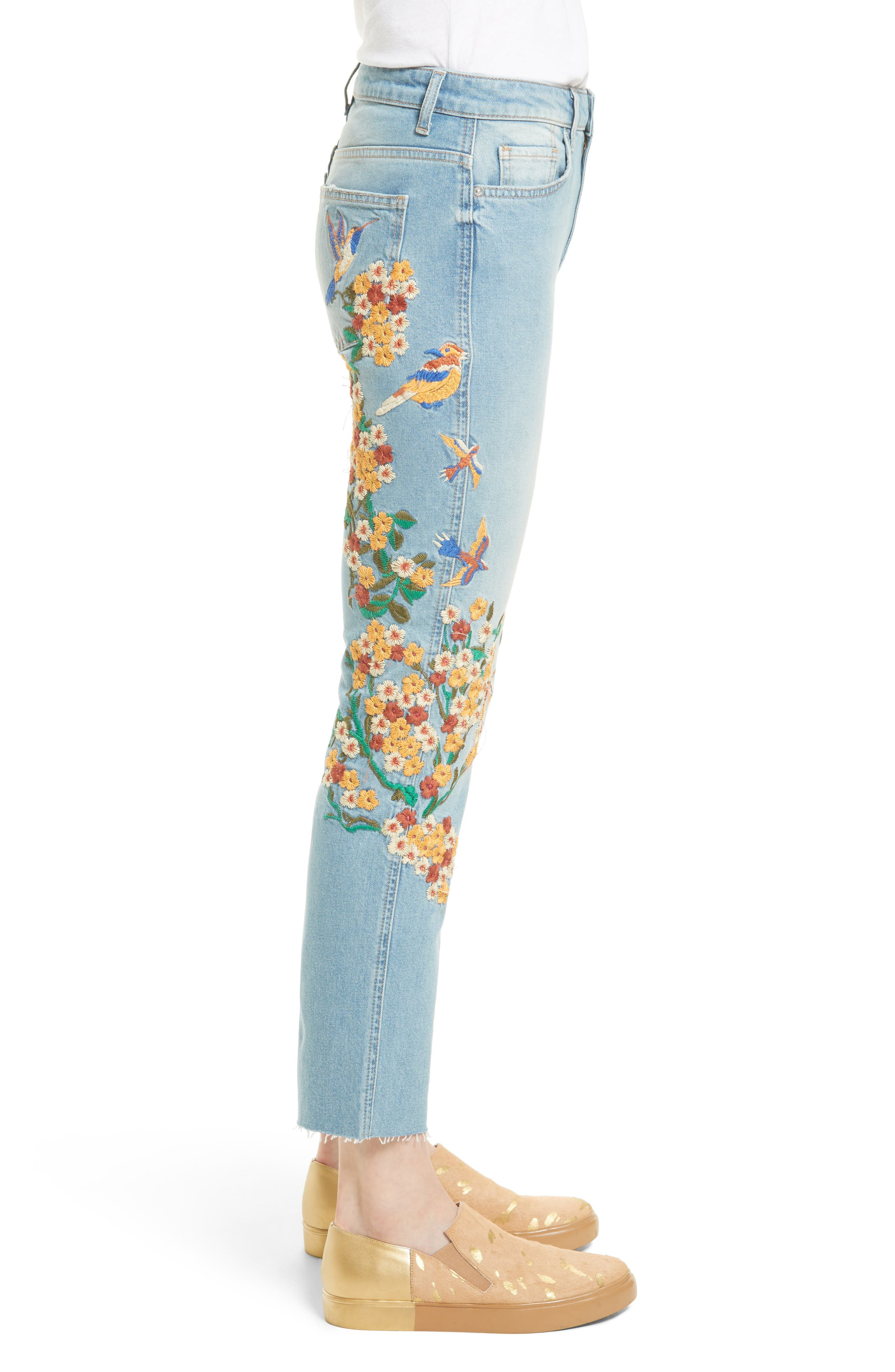 Embroidered Crop Girlfriend Jeans,                             Alternate thumbnail 3, color,                             400