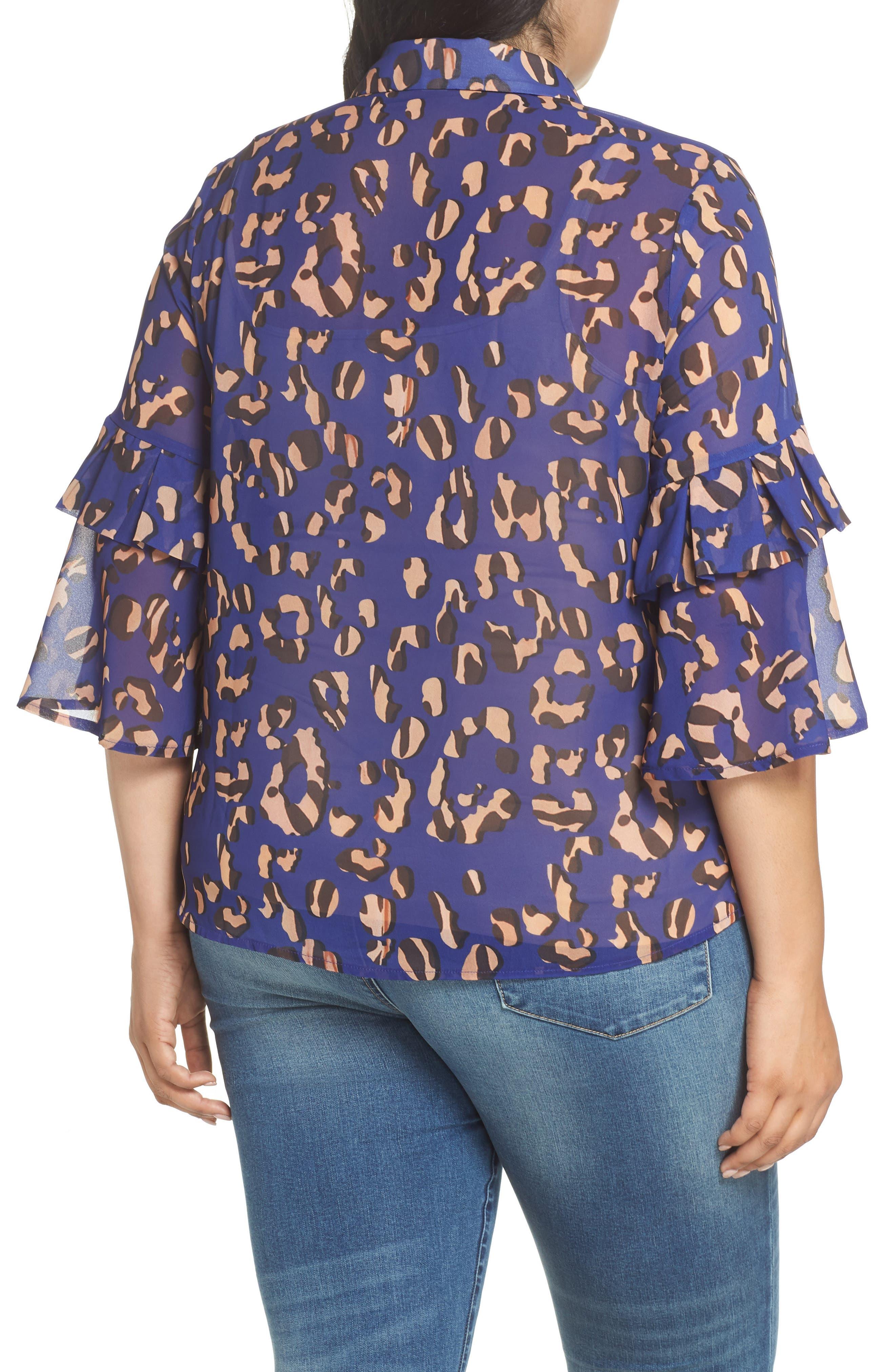 Leopard Print Button Down Shirt,                             Alternate thumbnail 2, color,                             001