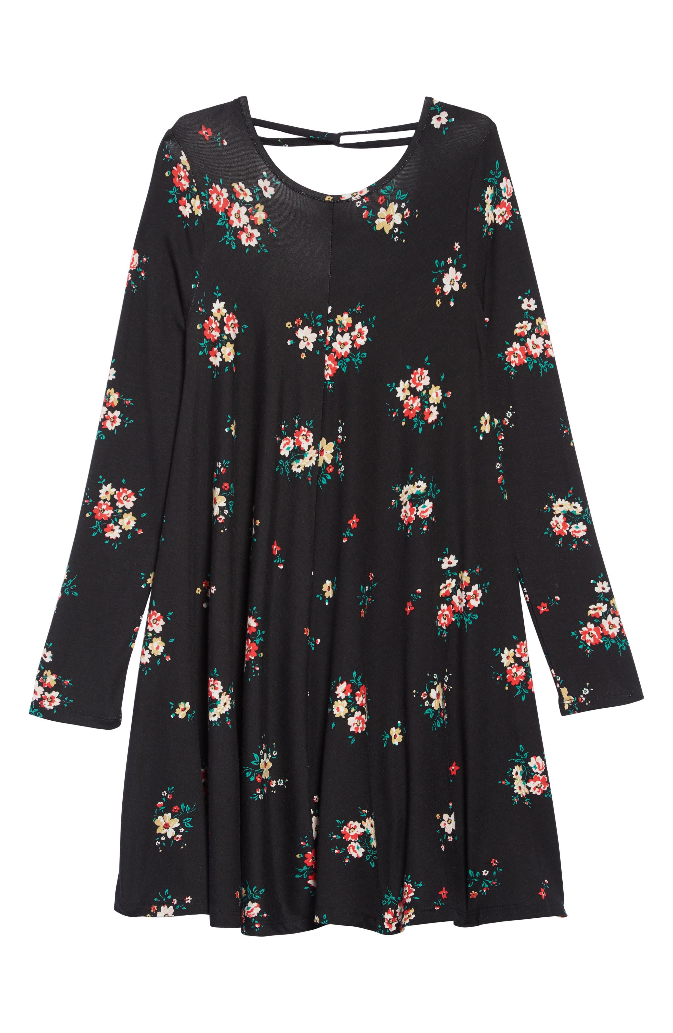 Printed Crisscross Back Shift Dress, Main, color, BLACK PRETTY FLORAL