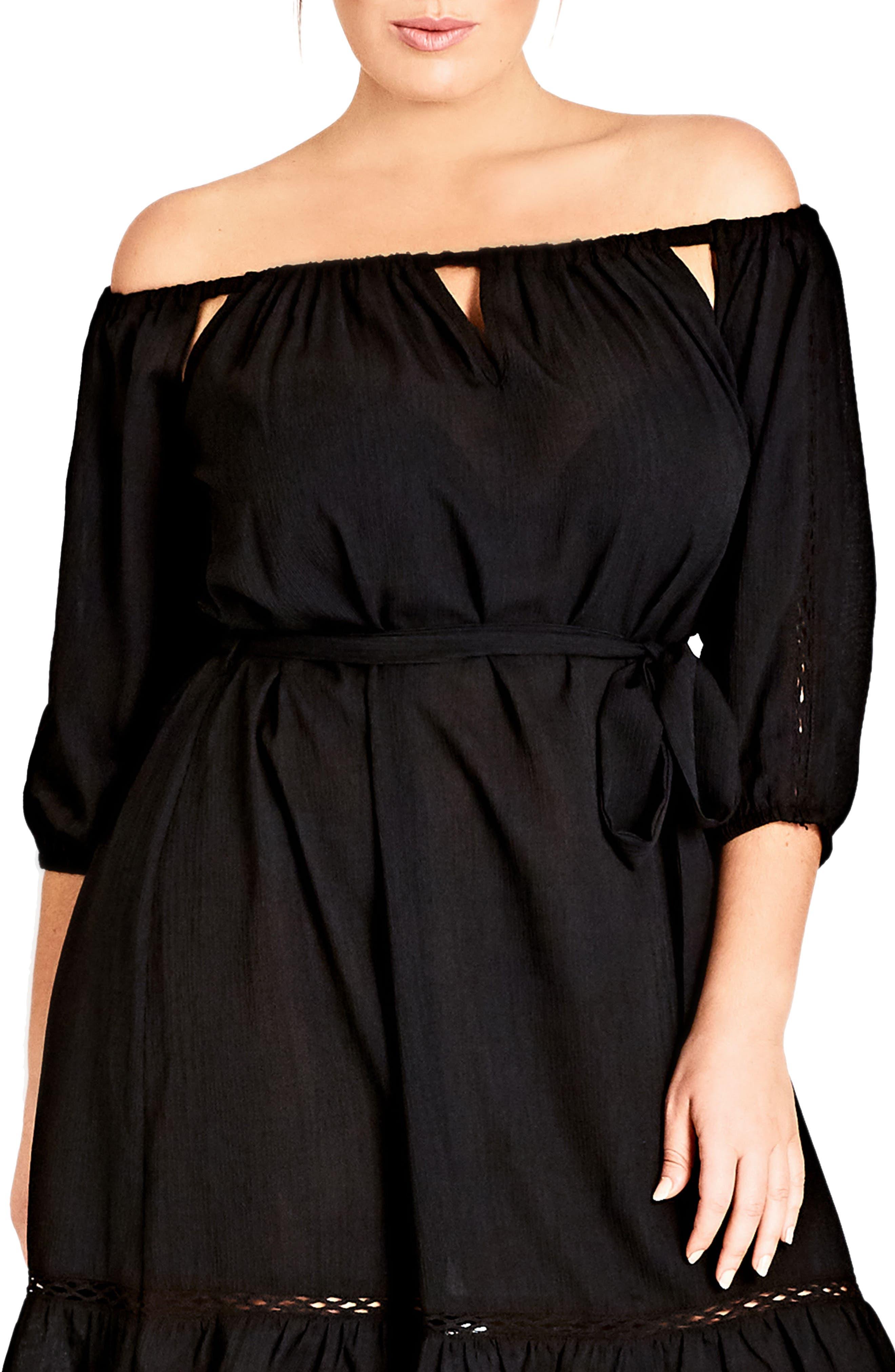 Plus Size City Chic Darling Diva Off The Shoulder Dress, Black