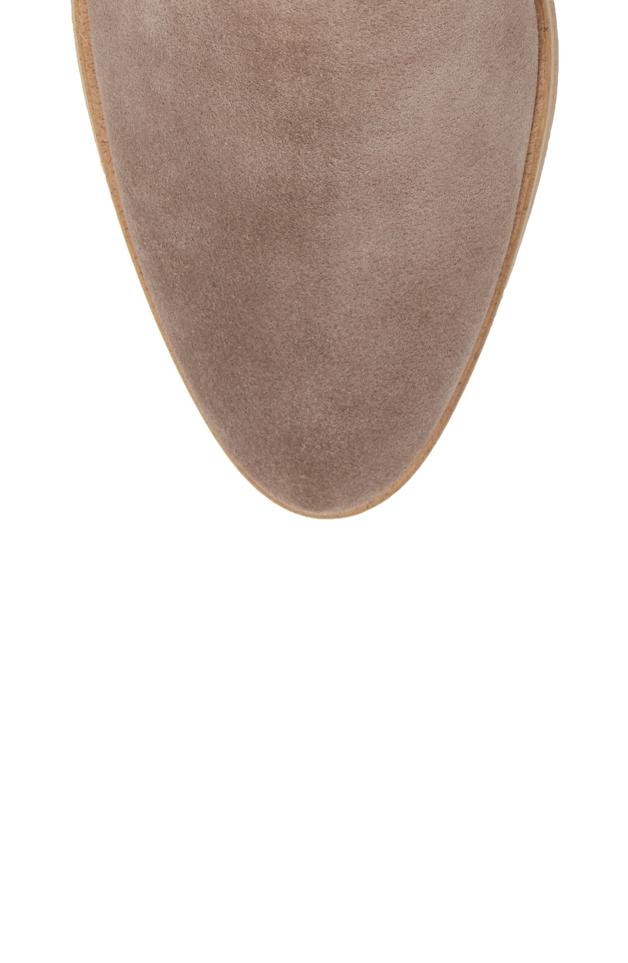 Roselyn II Almond Toe Bootie,                             Alternate thumbnail 5, color,                             LIGHT CHARCOAL SUEDE