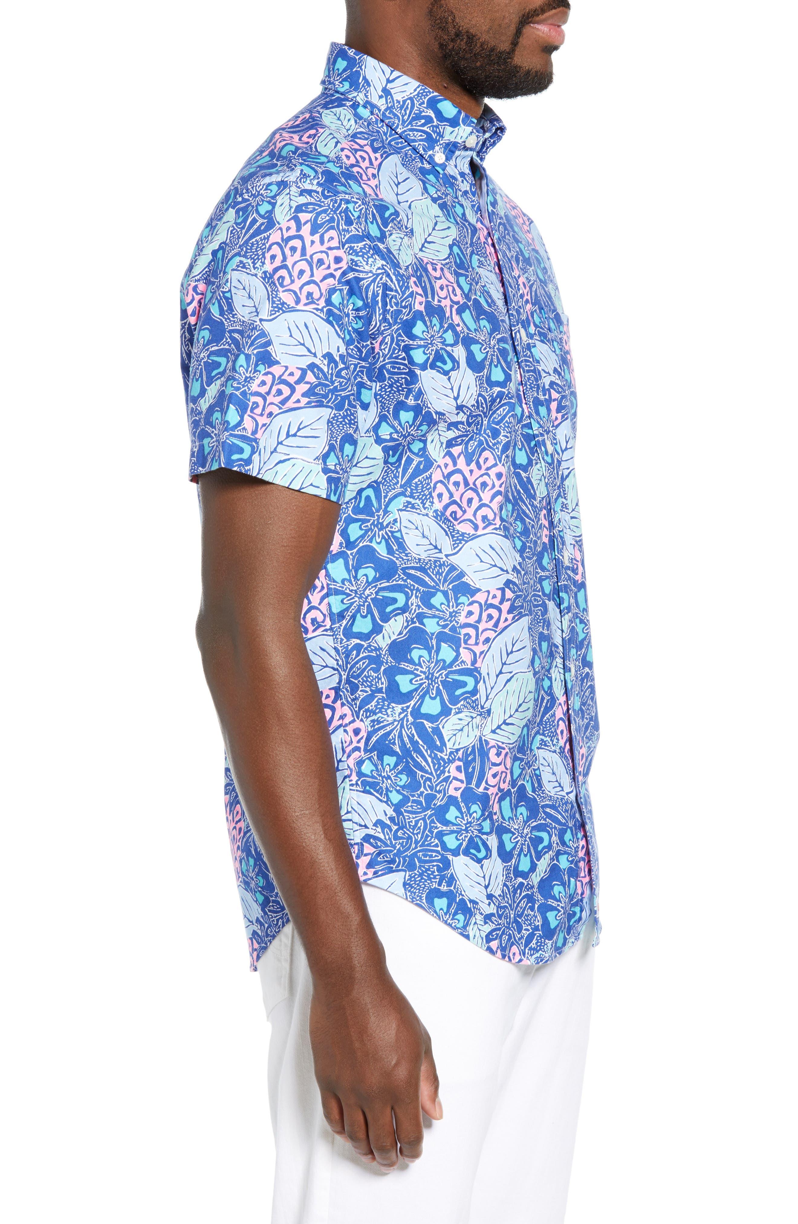 VINEYARD VINES,                             Murray Slim Fit Pineapple Print Sport Shirt,                             Alternate thumbnail 4, color,                             ROYAL OCEAN