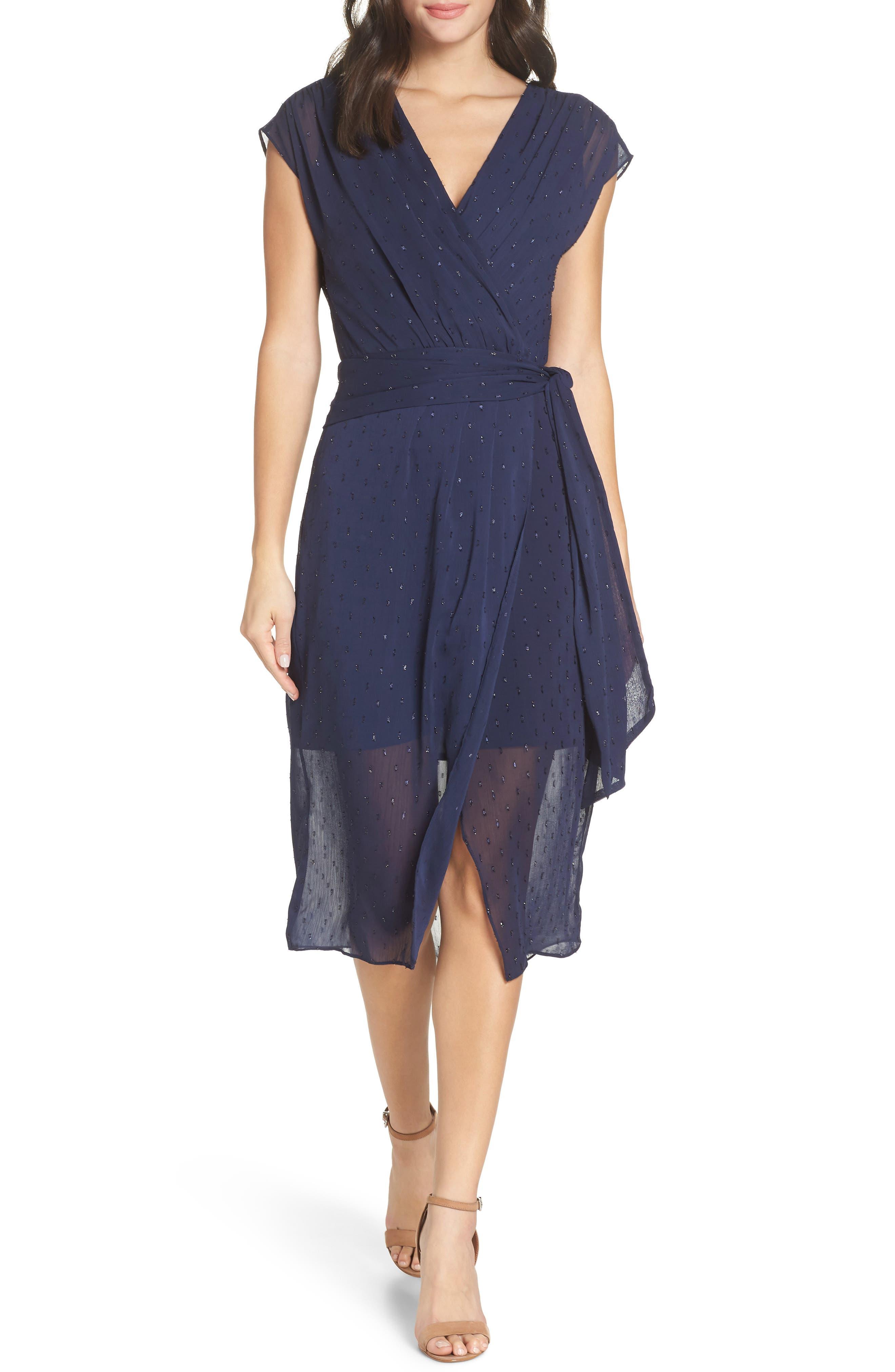 CHELSEA28,                             Fil Coupé Wrap Dress,                             Main thumbnail 1, color,                             NAVY SAPPHIRE CLIPDOT