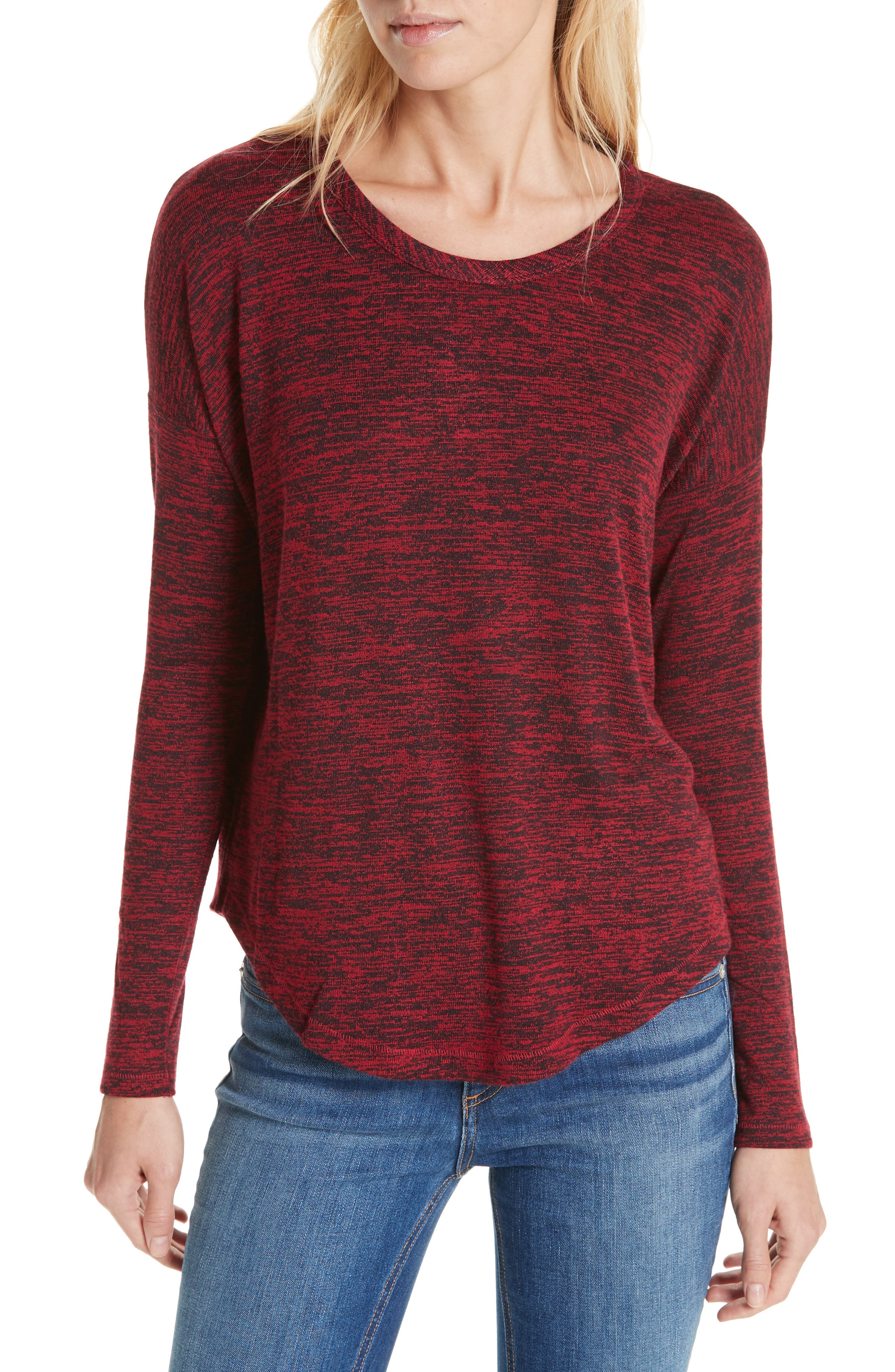 Hudson Cotton Jersey Long Sleeve Top in Deep Berry