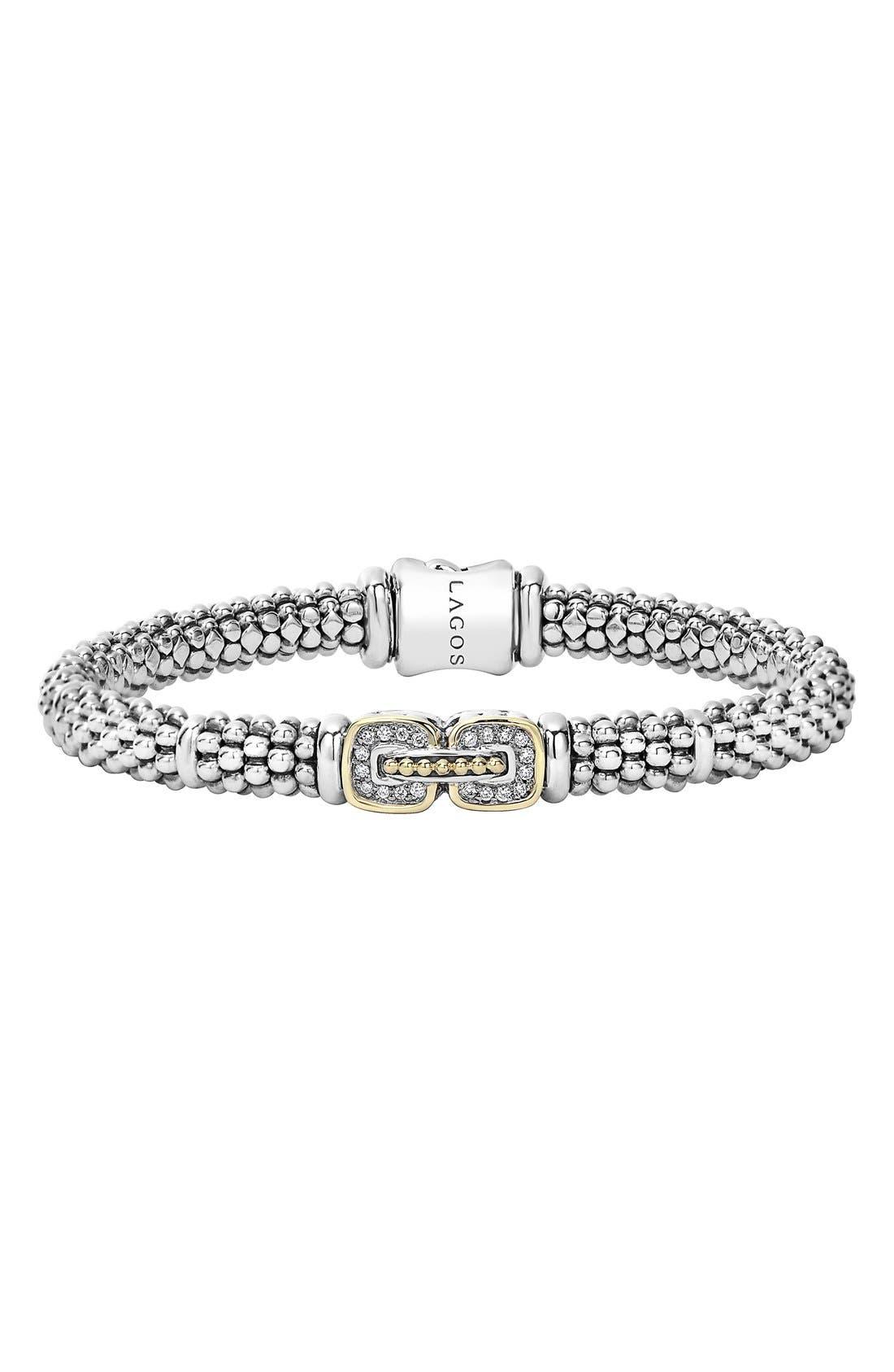'Cushion' Diamond Caviar Bracelet,                         Main,                         color, SILVER/ GOLD