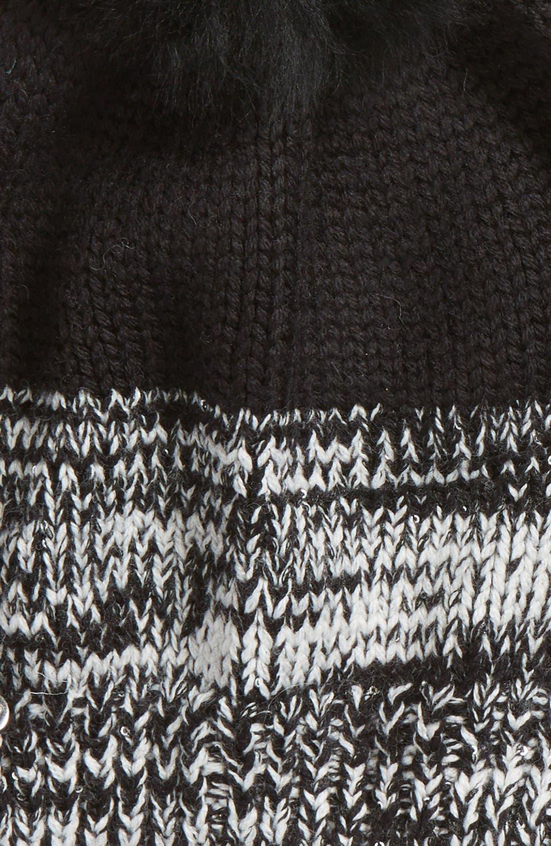 Australia Genuine Shearling Pom Marled Knit Beanie,                             Alternate thumbnail 3, color,                             001