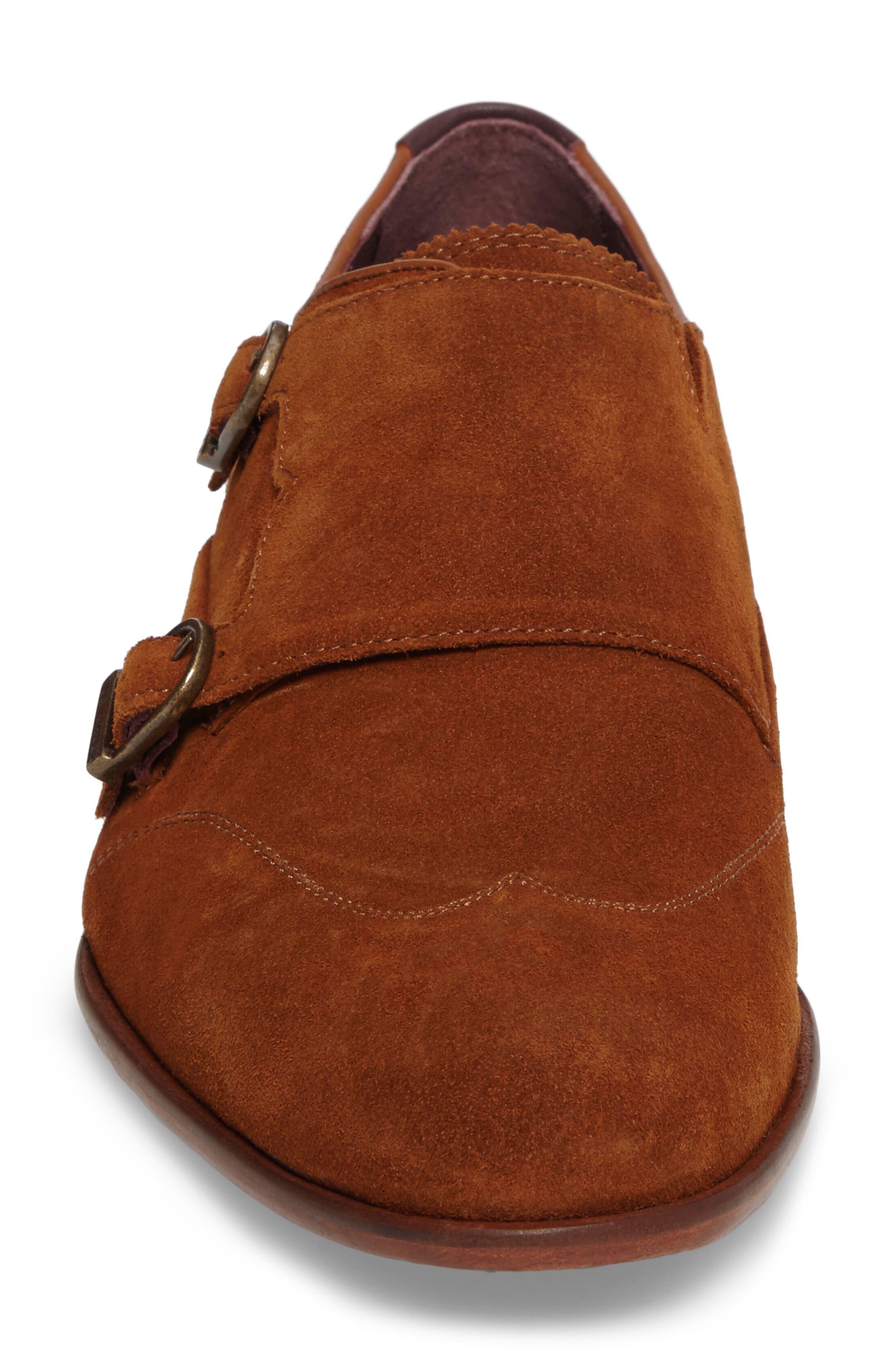 Rovere Wingtip Monk Shoe,                             Alternate thumbnail 4, color,                             TAN SUEDE