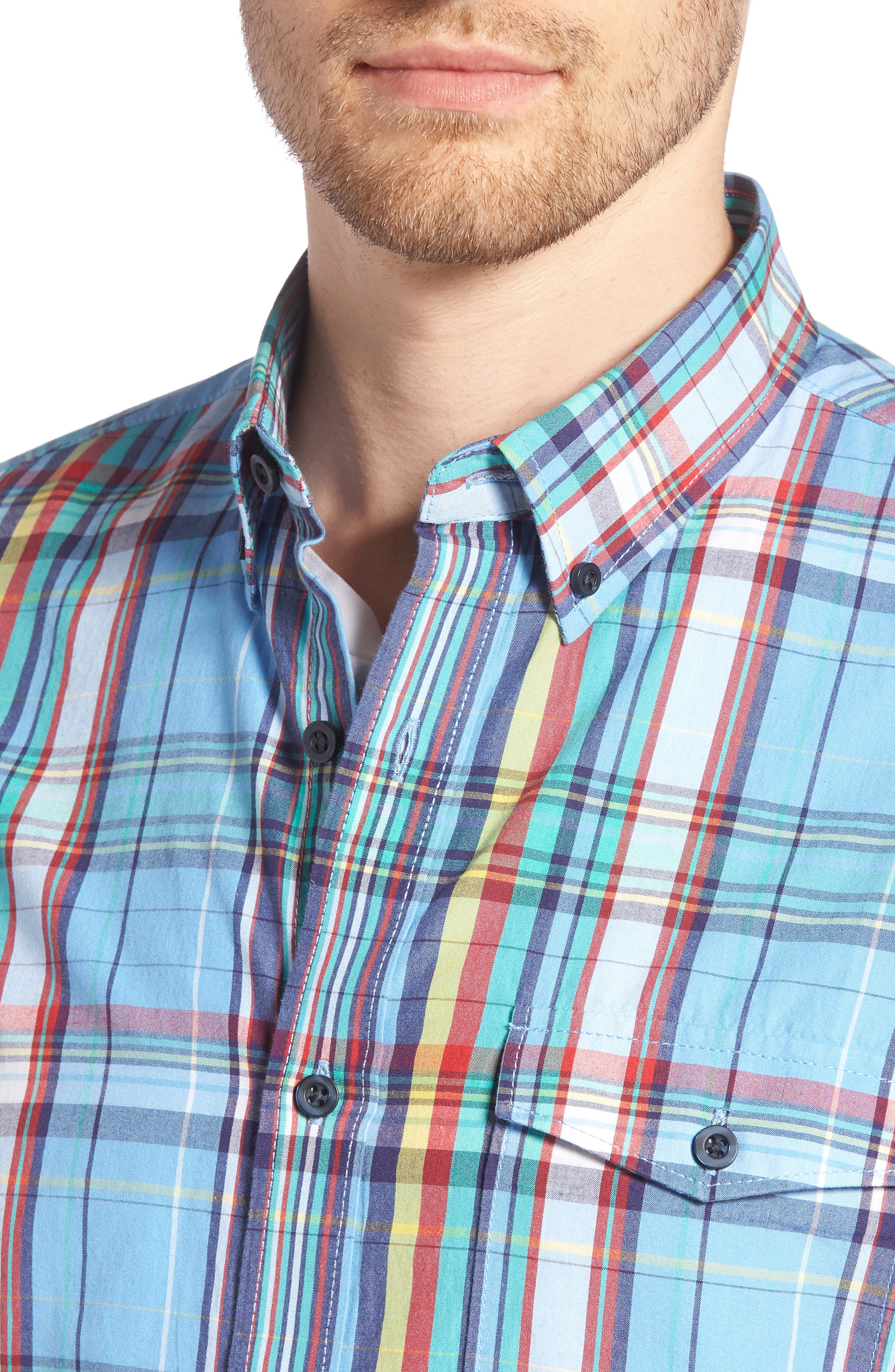 Ivy Trim Fit Madras Plaid Sport Shirt,                             Alternate thumbnail 4, color,                             420