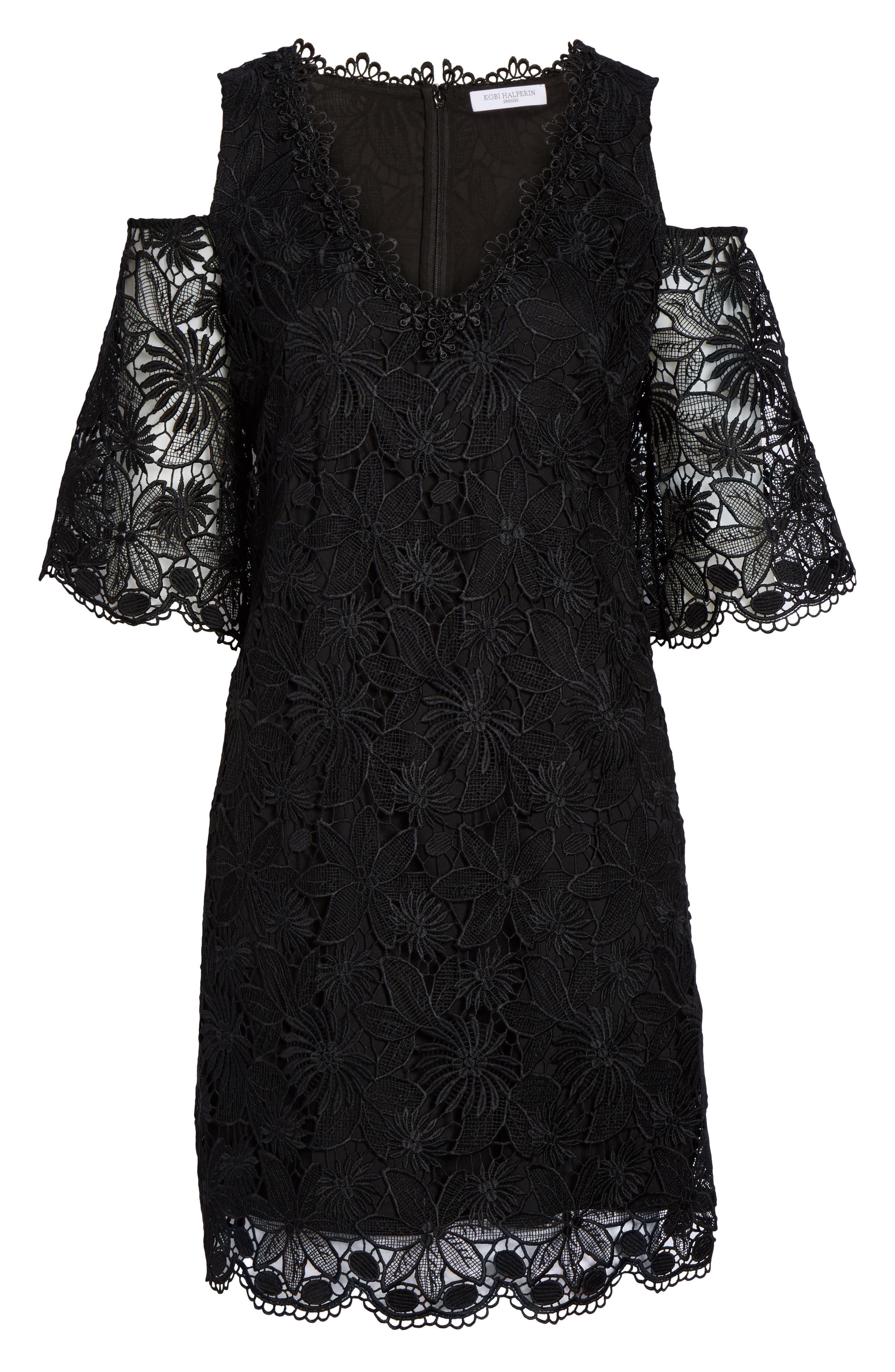 Edna Cold Shoulder Lace Dress,                             Alternate thumbnail 6, color,                             001