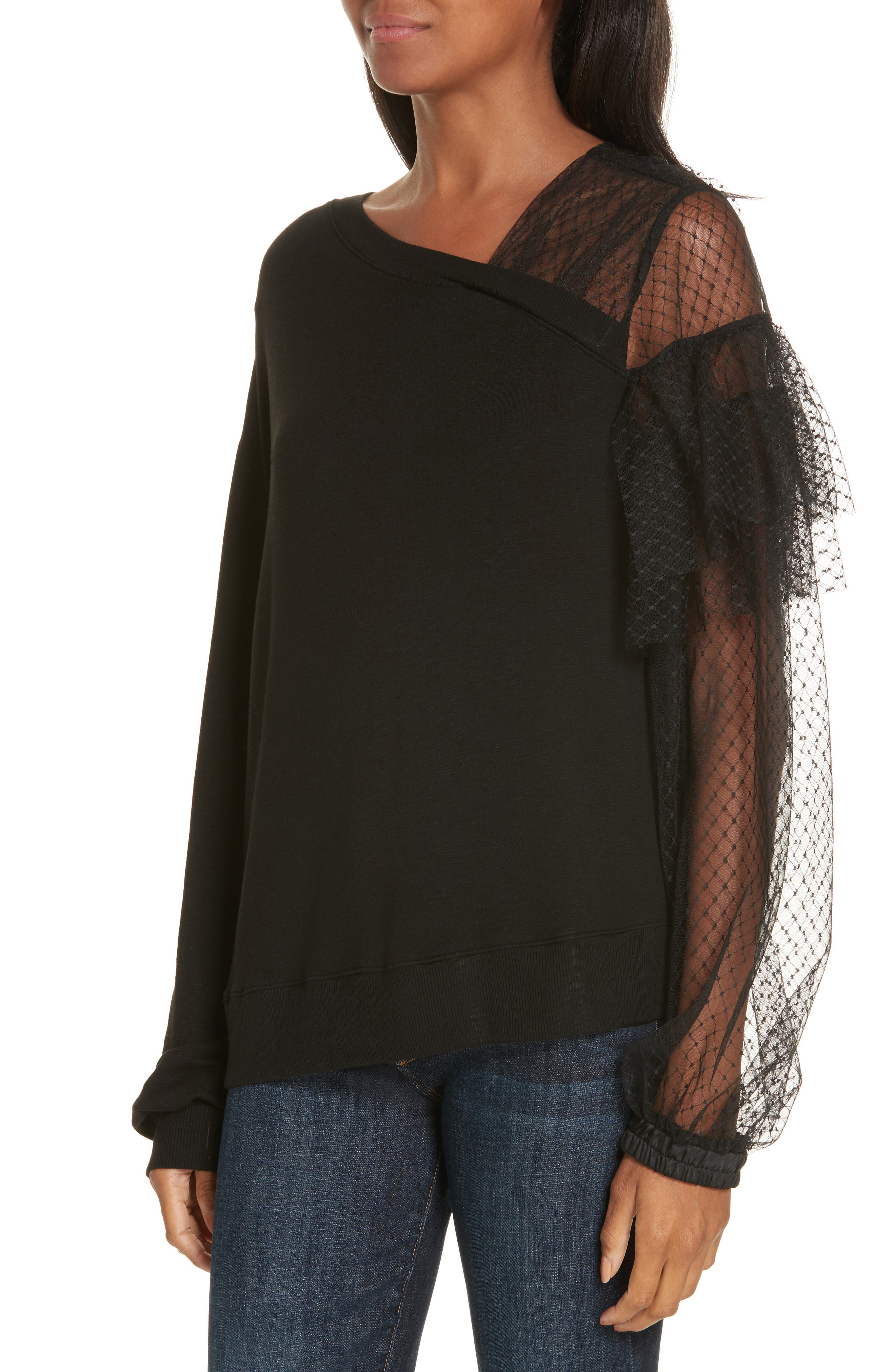 Mix Media Mesh Ruffle Top,                             Alternate thumbnail 4, color,                             BLACK