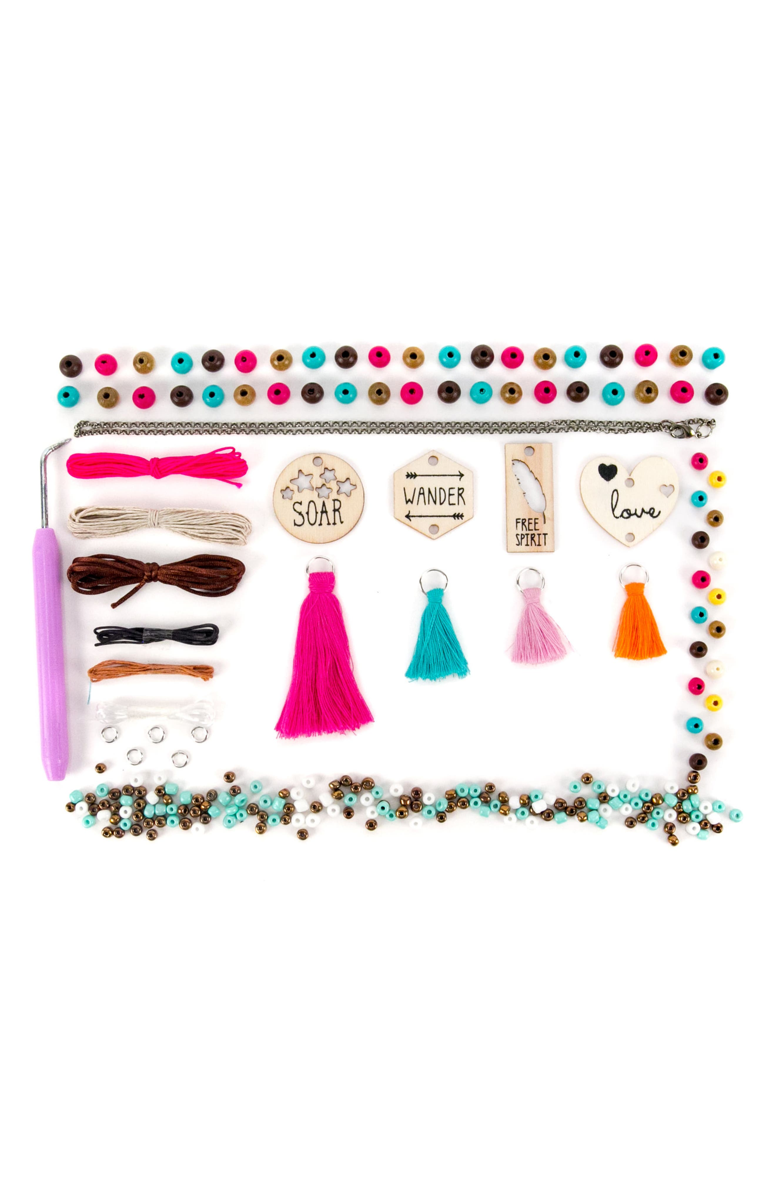 DIY Wooden Charm & Tassel Jewlery Kit,                             Alternate thumbnail 2, color,                             710