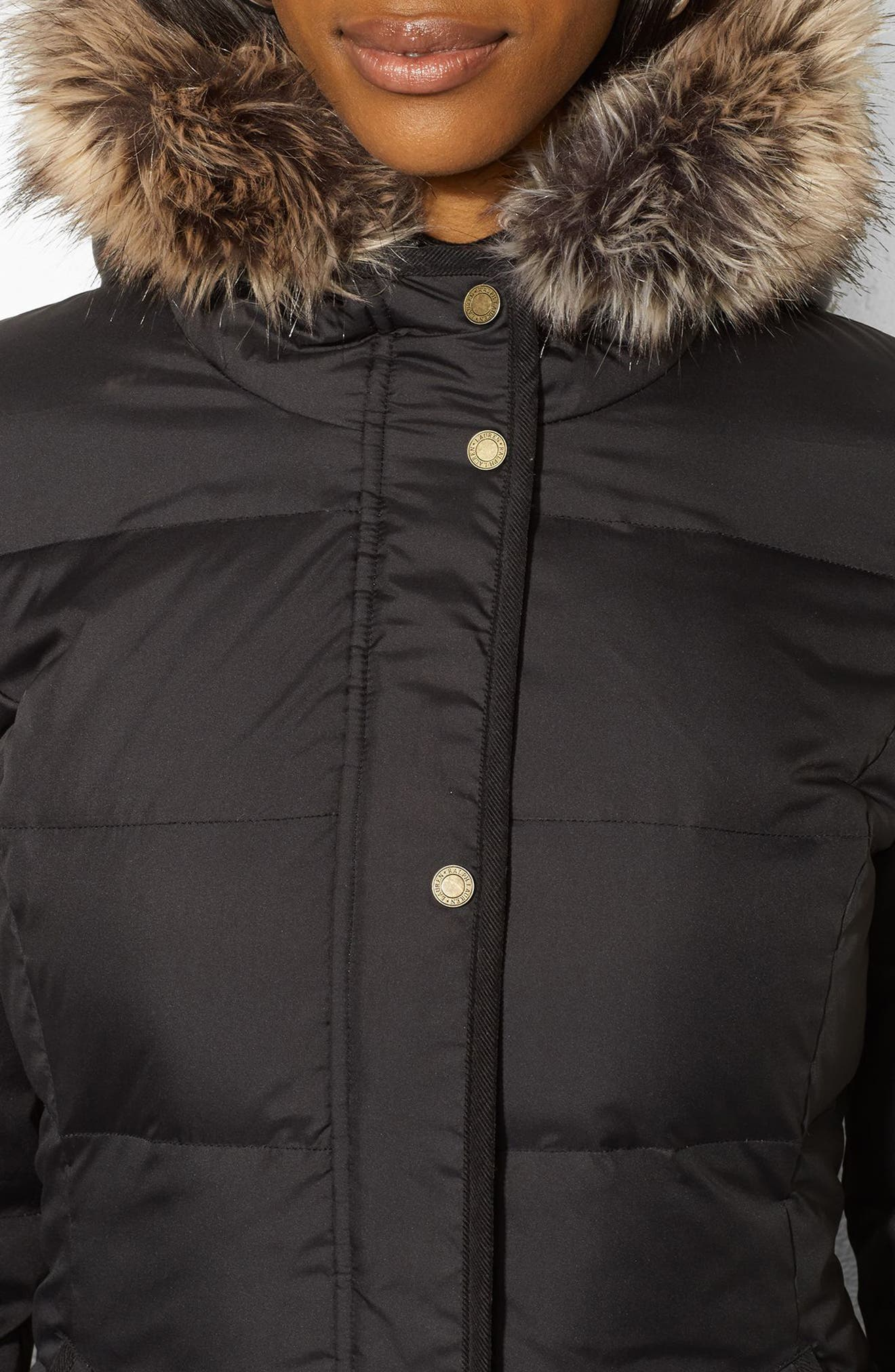 Quilted Down & Feather Jacket with Faux Fur Trim,                             Alternate thumbnail 3, color,                             001