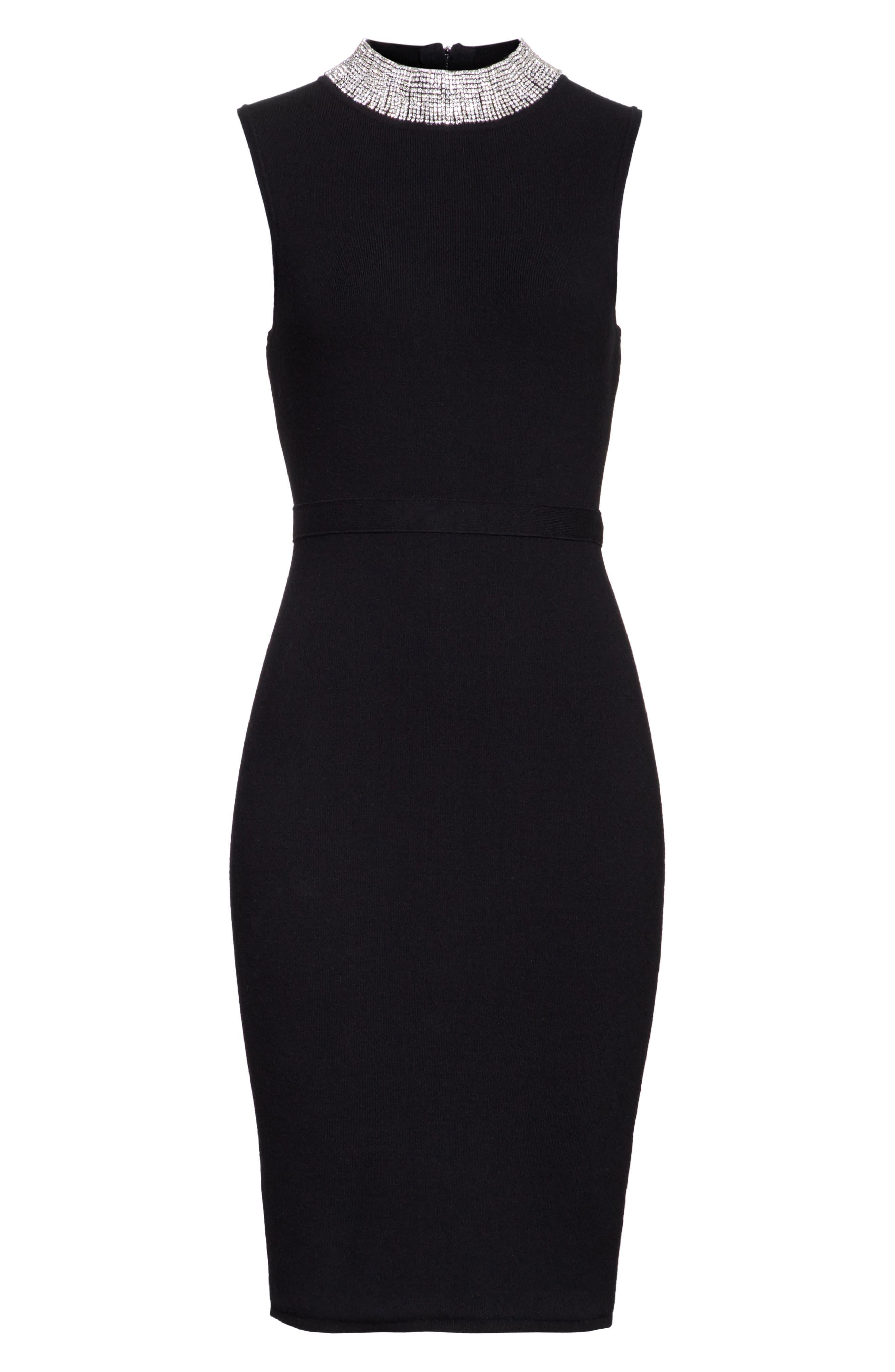 Jewel Collar Sheath Dress,                             Alternate thumbnail 6, color,