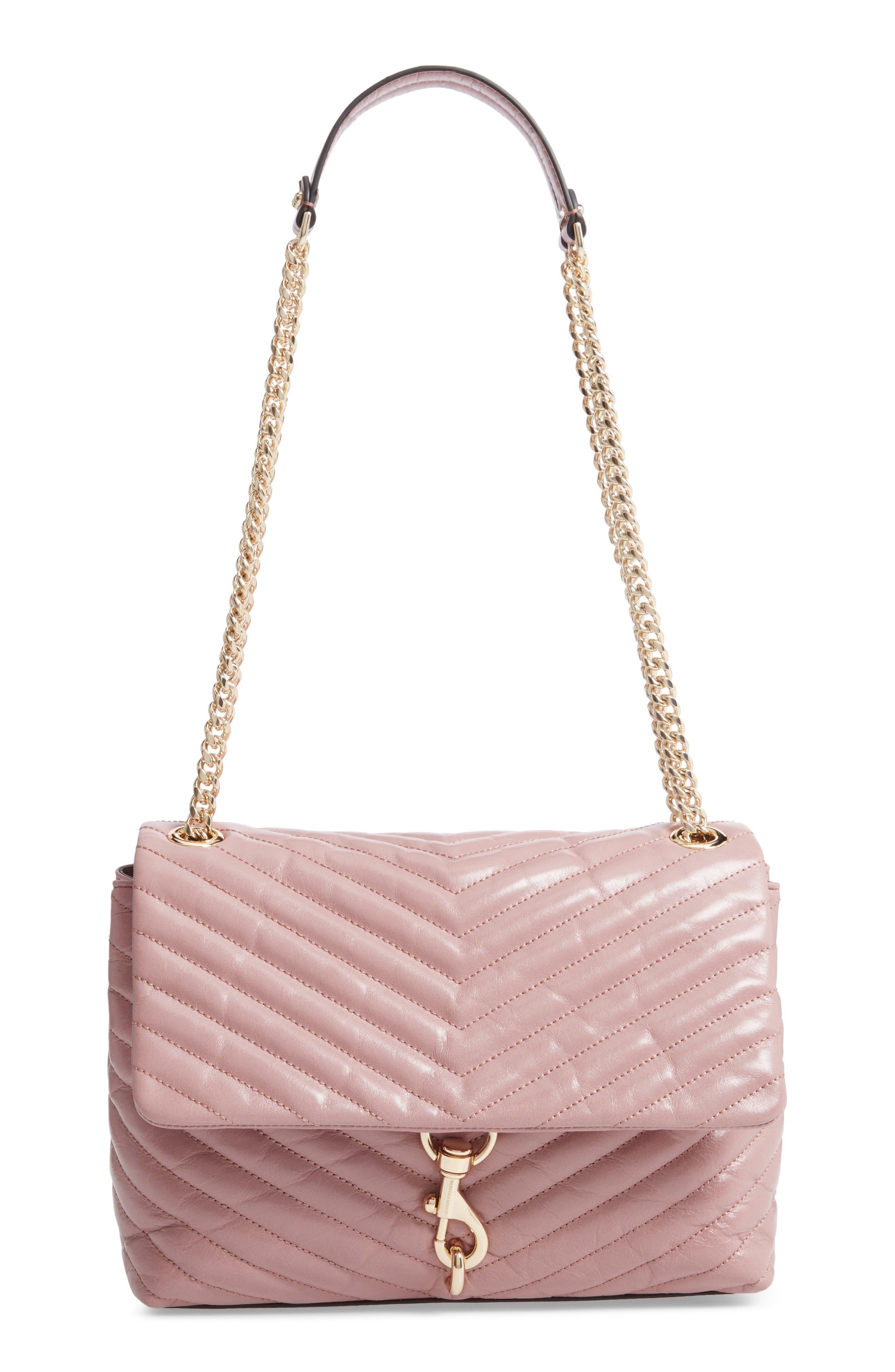 Edie Flap Front Leather Shoulder Bag - Brown in Mink