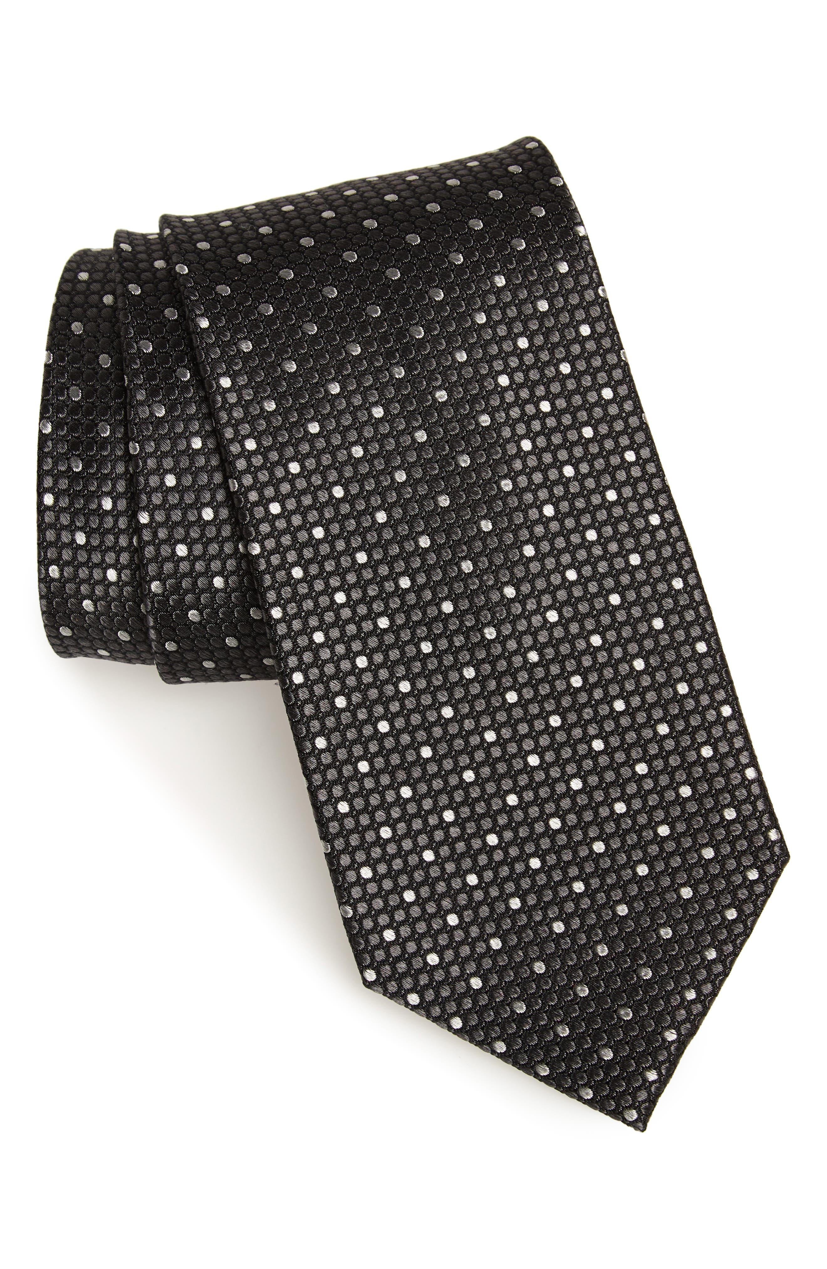Larrea Dot Silk Tie,                         Main,                         color, BLACK