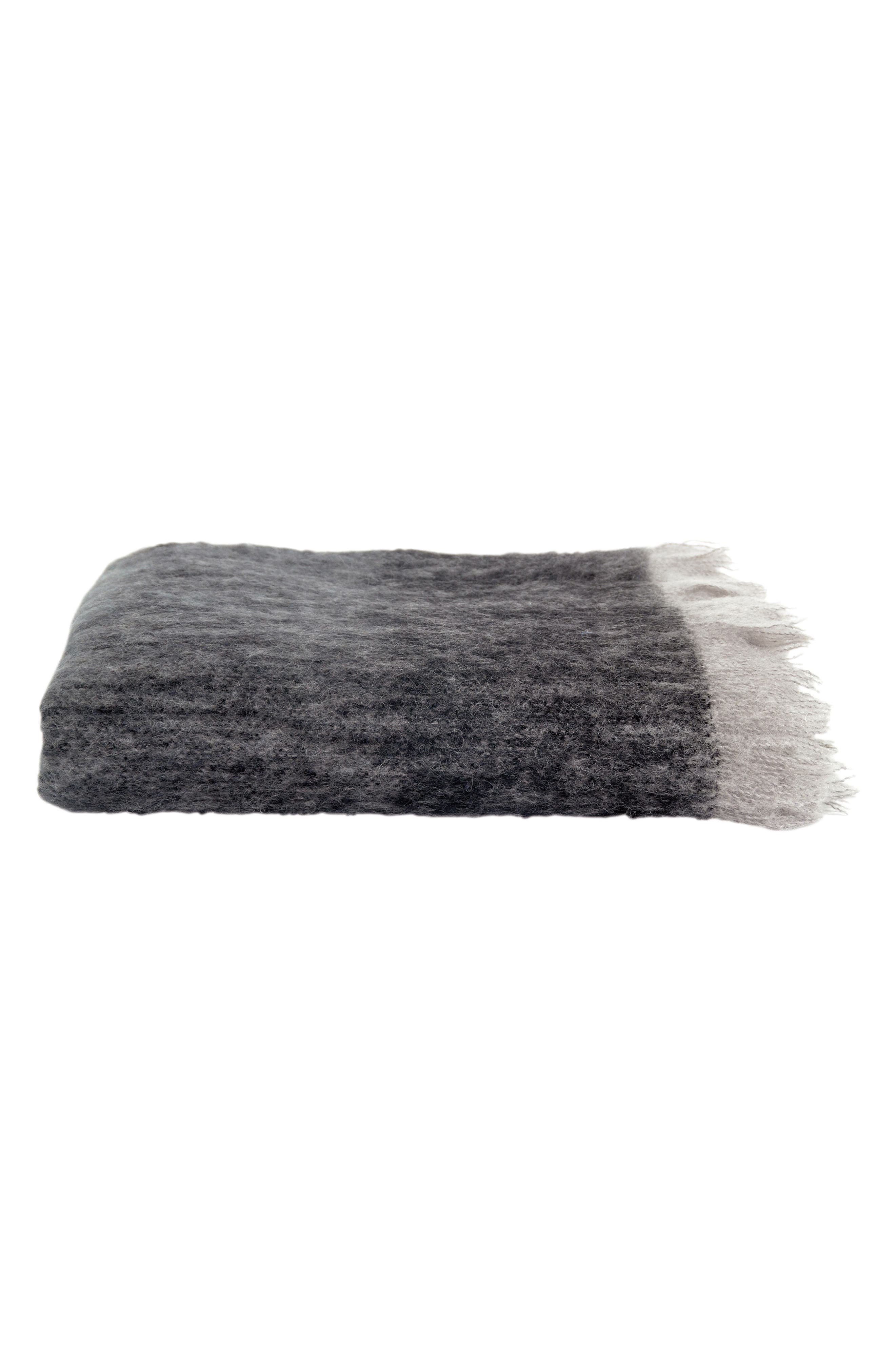Mohair & Wool Throw,                             Alternate thumbnail 2, color,                             CHARCOAL