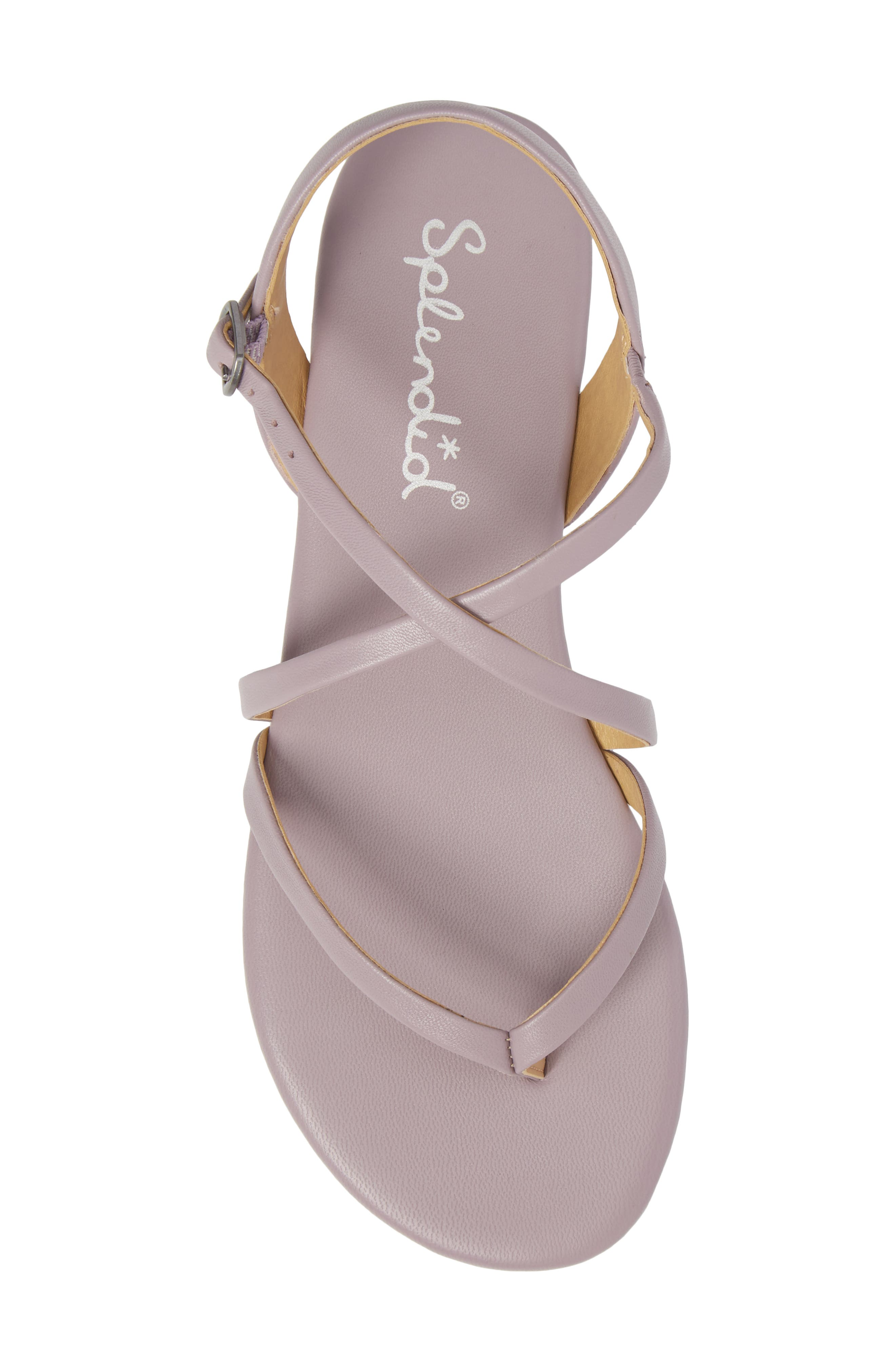 Brett Strappy Flat Sandal,                             Alternate thumbnail 5, color,                             WISTERIA LEATHER