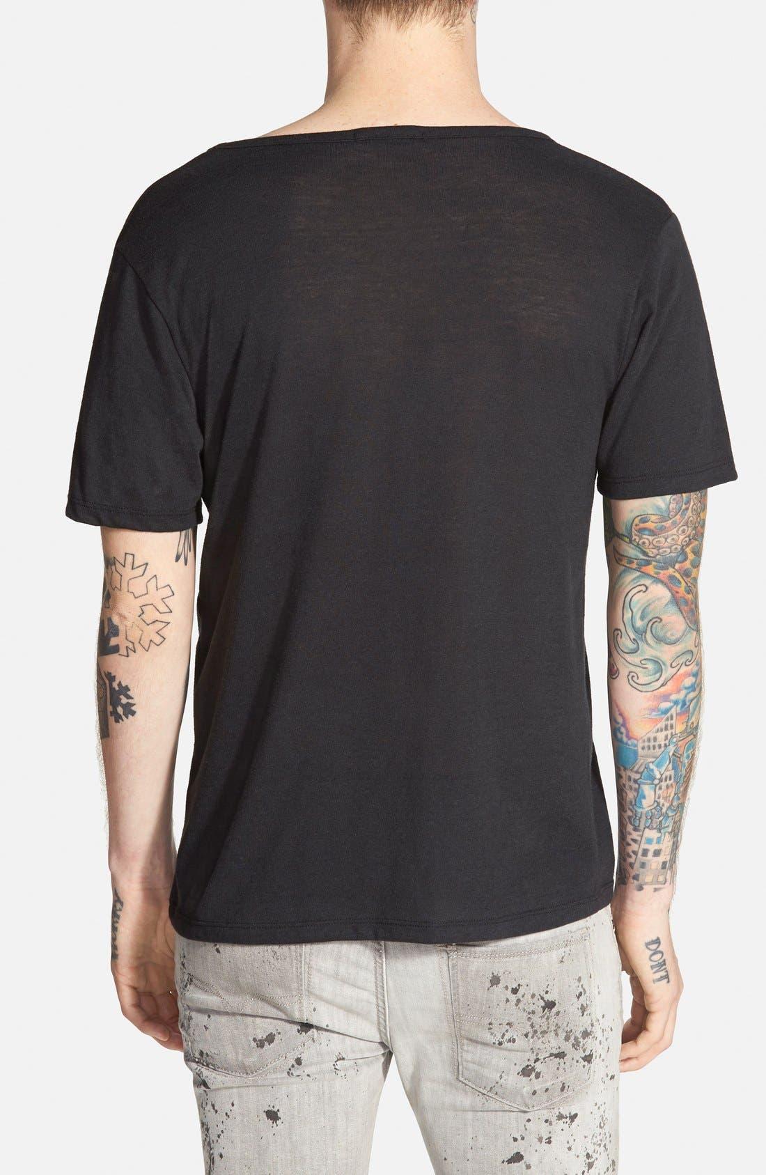 ALTERNATIVE,                             Open Neck T-Shirt,                             Alternate thumbnail 2, color,                             001