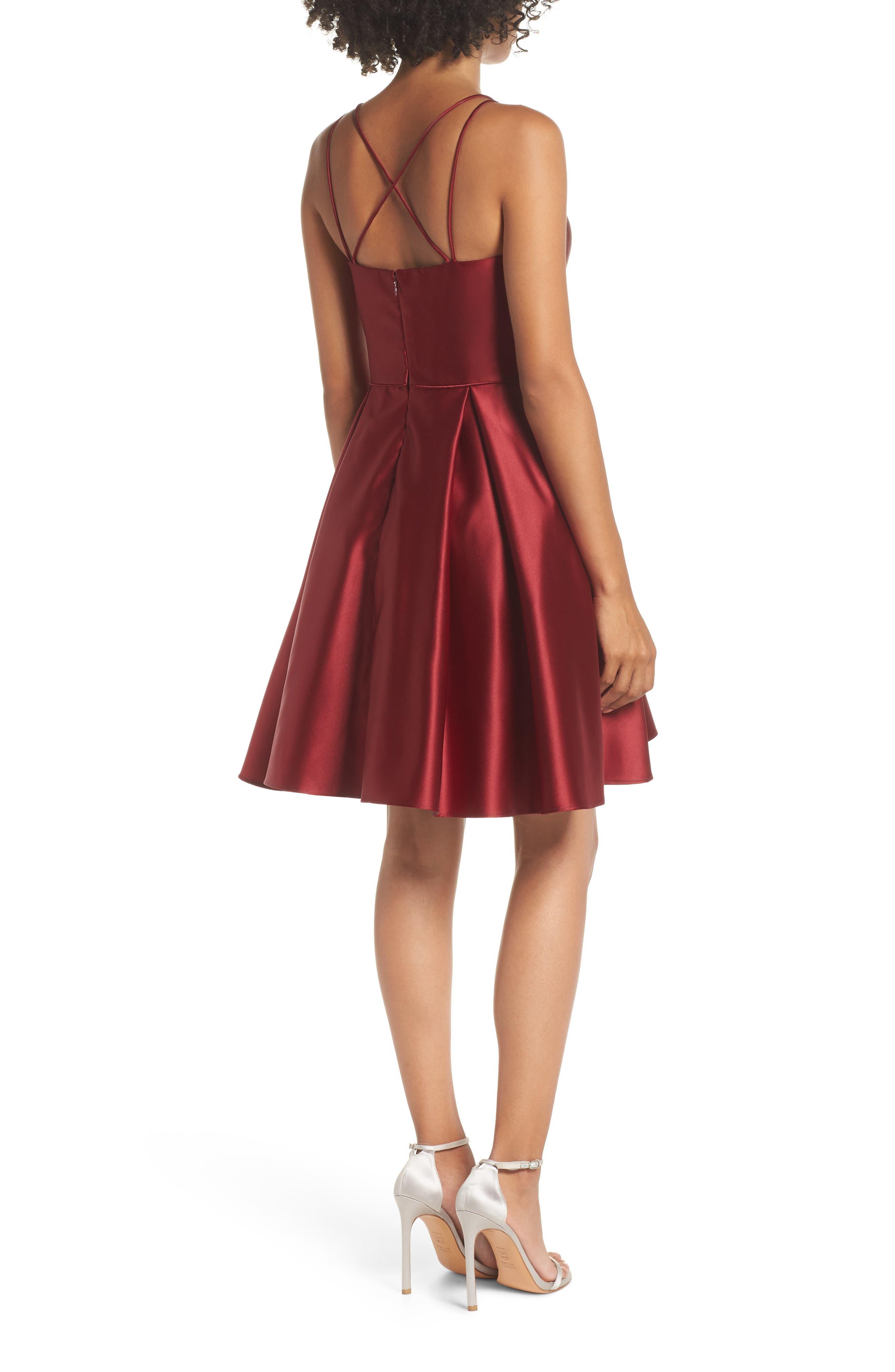 Satin Halter Neck Party Dress,                             Alternate thumbnail 2, color,                             BURGUNDY