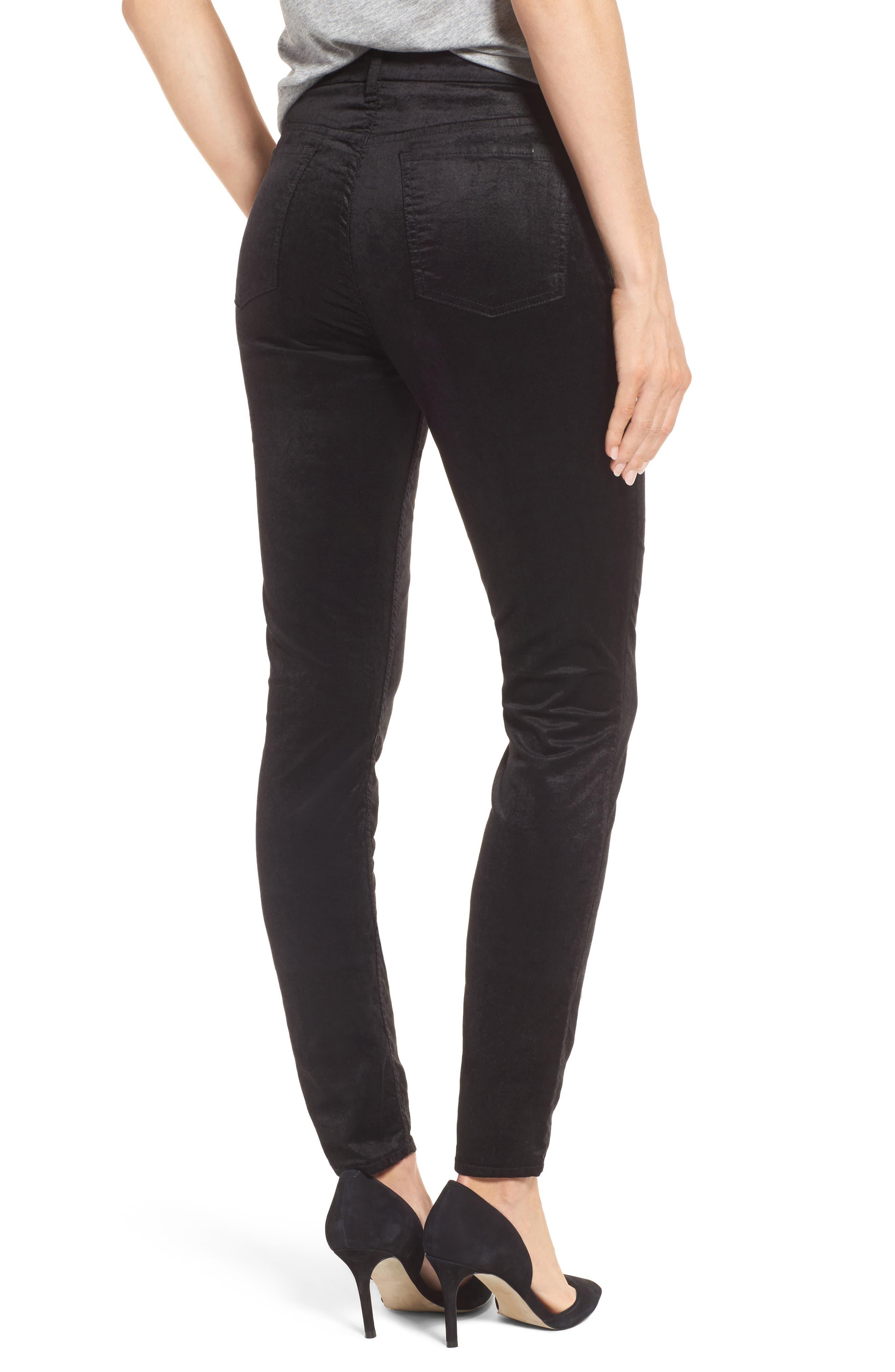 Stretch Velvet Ankle Skinny Jeans,                             Alternate thumbnail 2, color,                             004