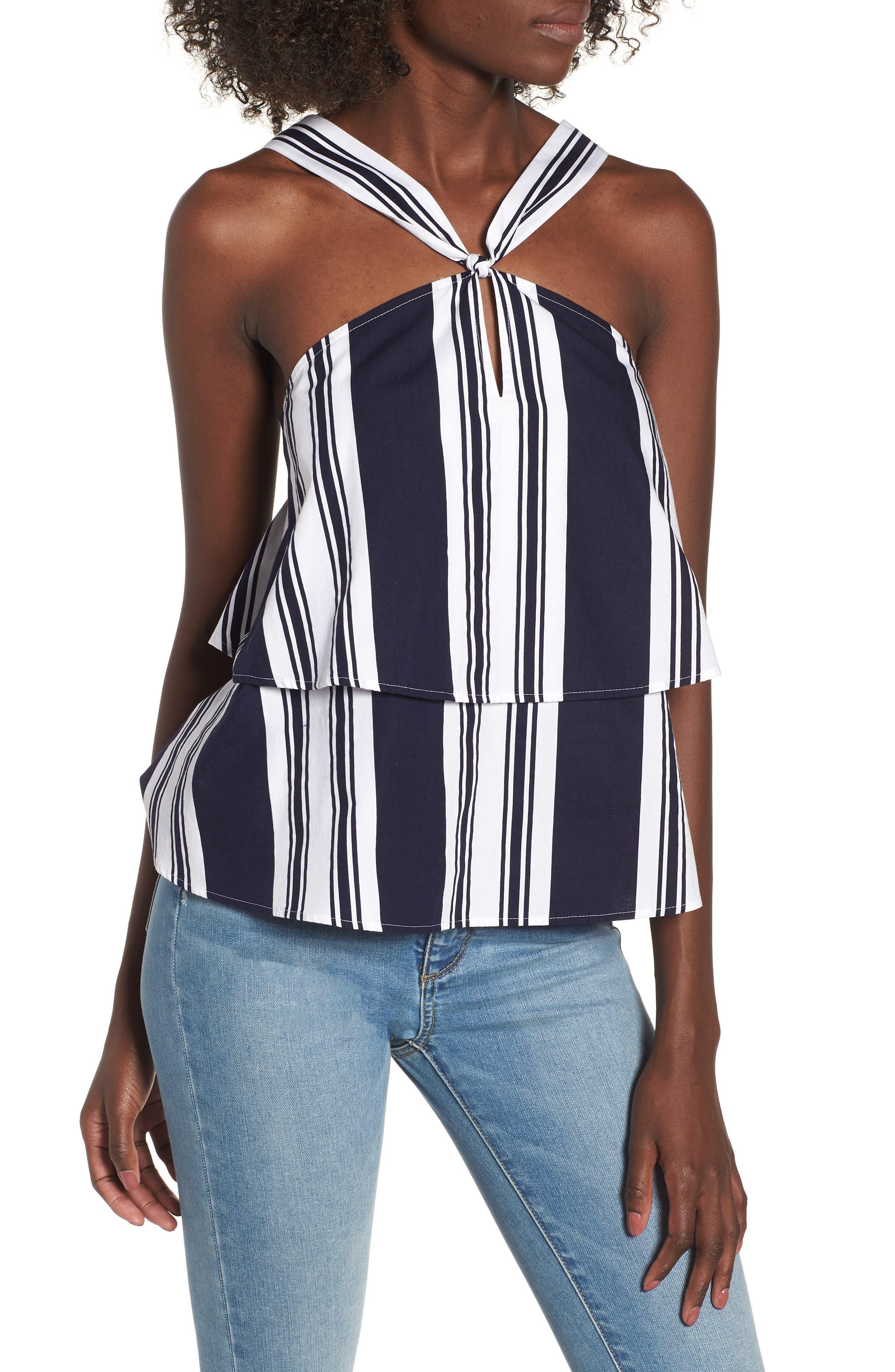 Stripe Poplin Halter Top,                         Main,                         color, 401