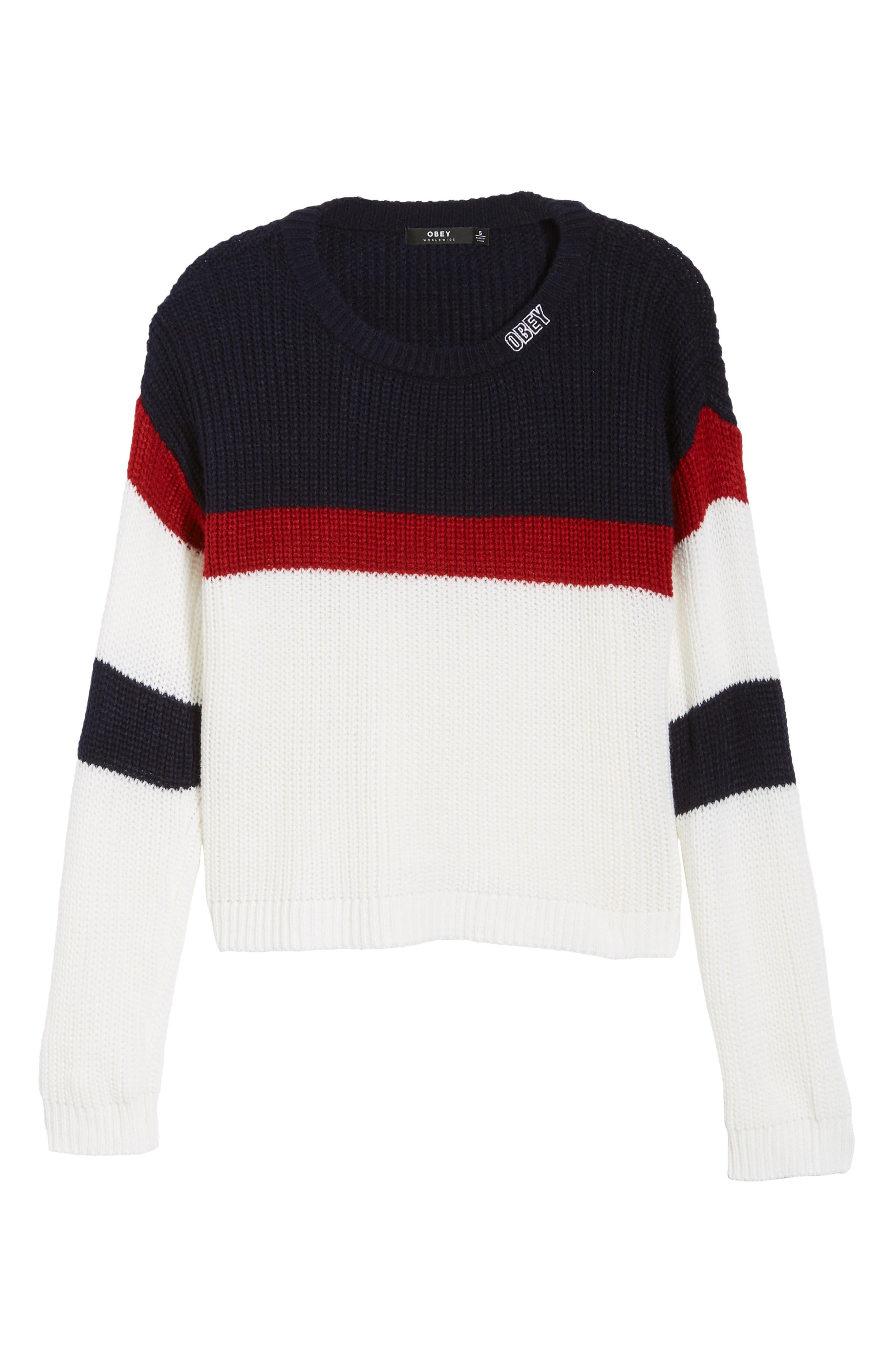 Allie Colorblock Crewneck Sweater,                             Alternate thumbnail 6, color,                             NAVY MULTI