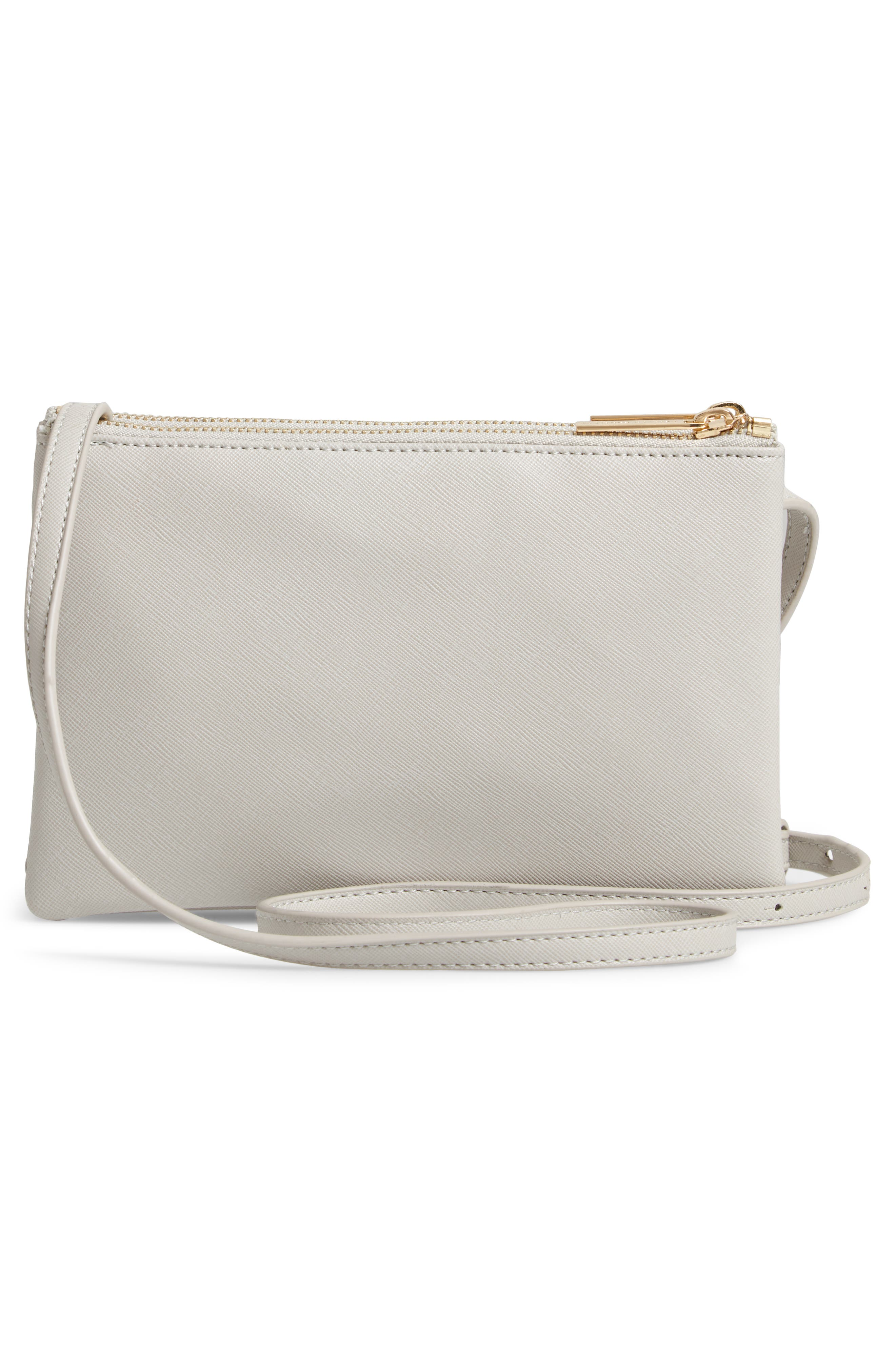 Double Faux Leather Crossbody Bag,                             Alternate thumbnail 3, color,                             GREY