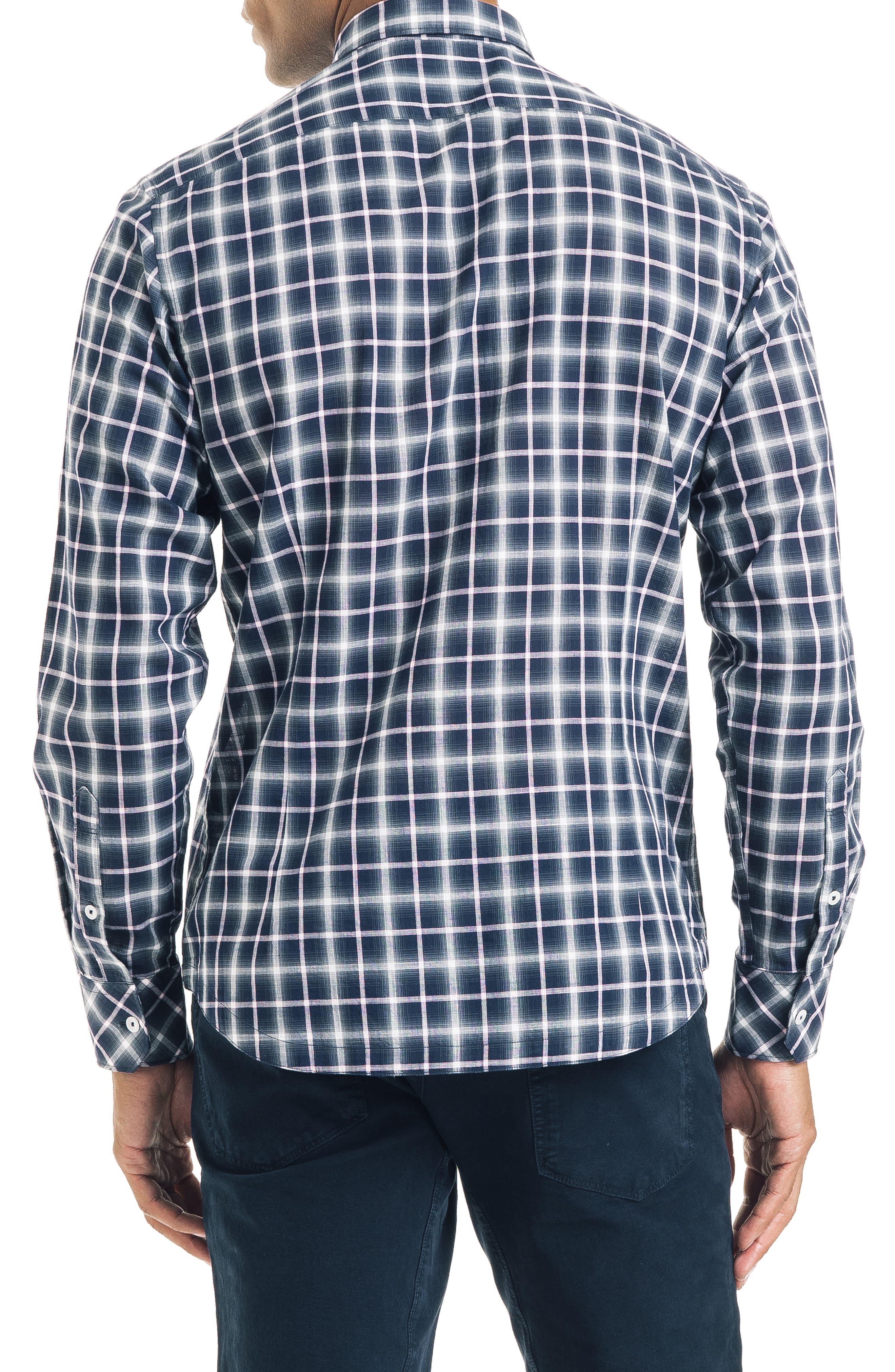 Bias Slim Fit Ombré Plaid Sport Shirt,                             Alternate thumbnail 2, color,                             BLUE
