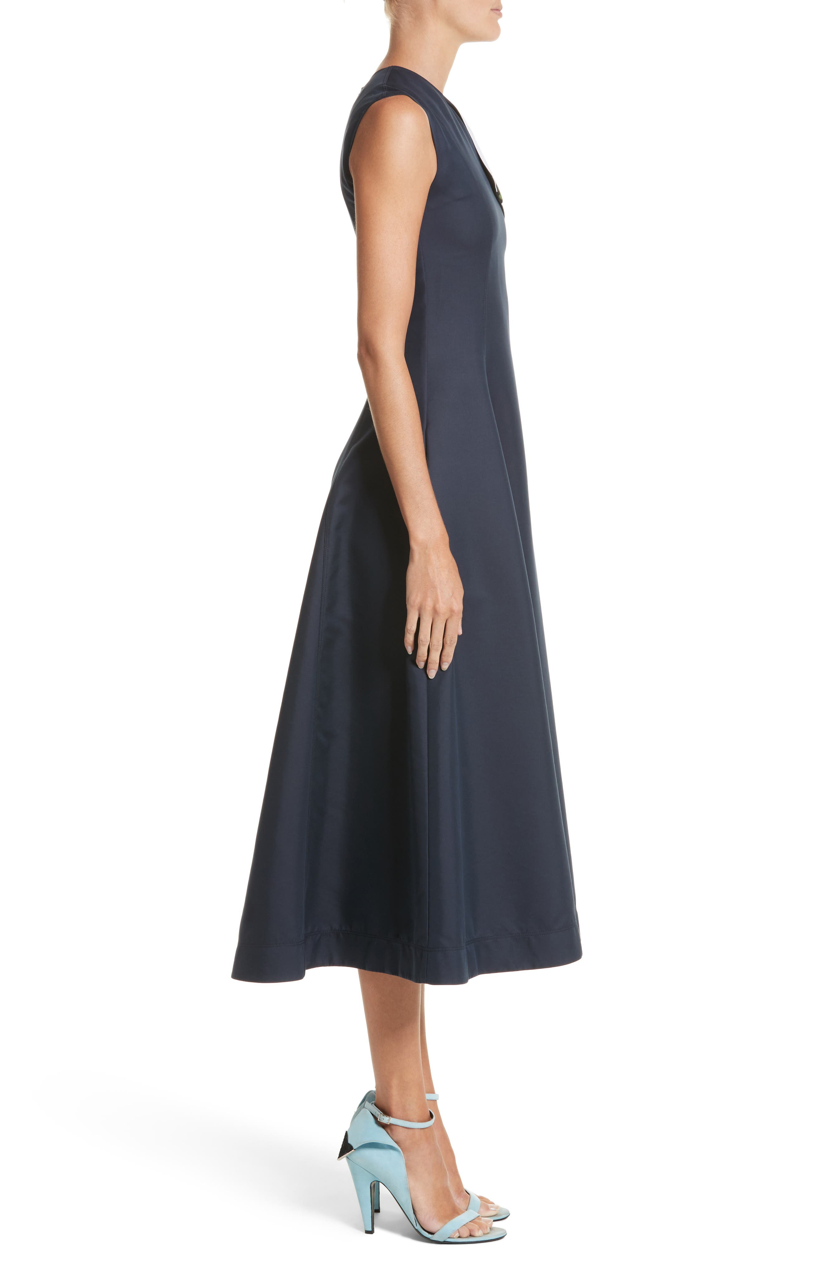 Cotton & Silk Dress,                             Alternate thumbnail 3, color,                             NAVY