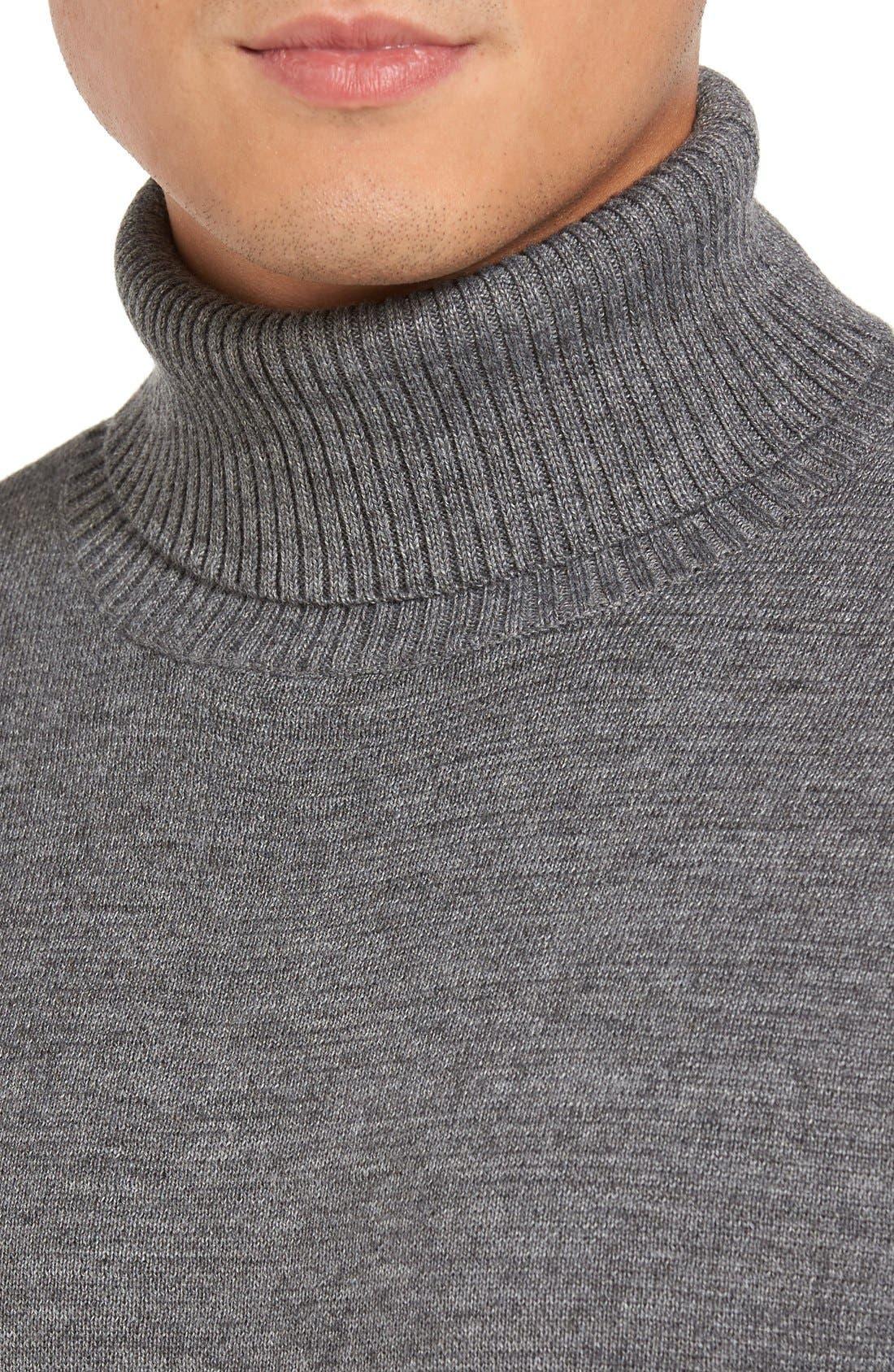 Merino Wool Blend Turtleneck Sweater,                             Alternate thumbnail 5, color,                             020