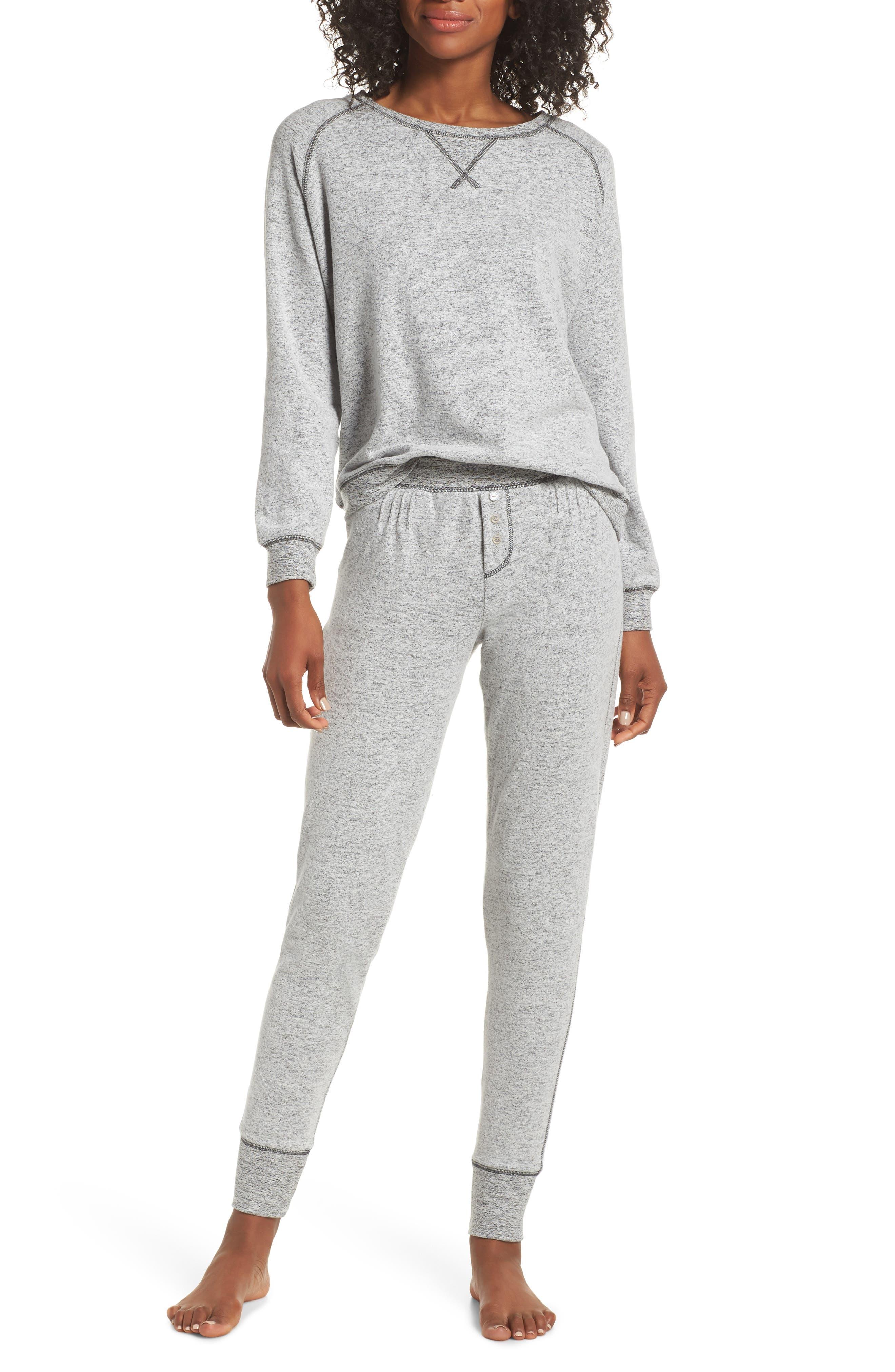 So Soft Knit Pajamas,                             Main thumbnail 1, color,                             CHARCOAL MARL