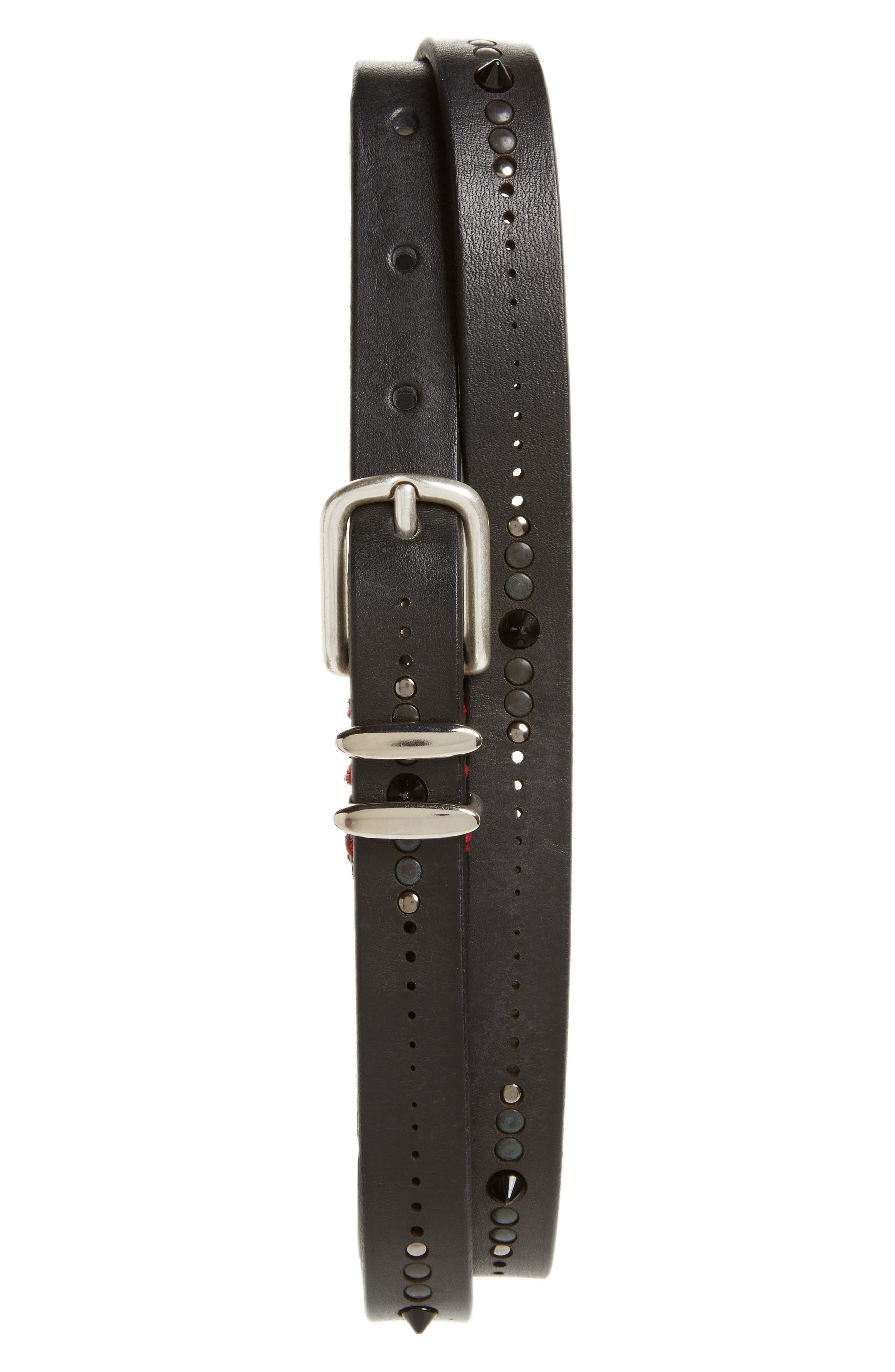 Studded Leather Belt,                             Main thumbnail 1, color,                             001