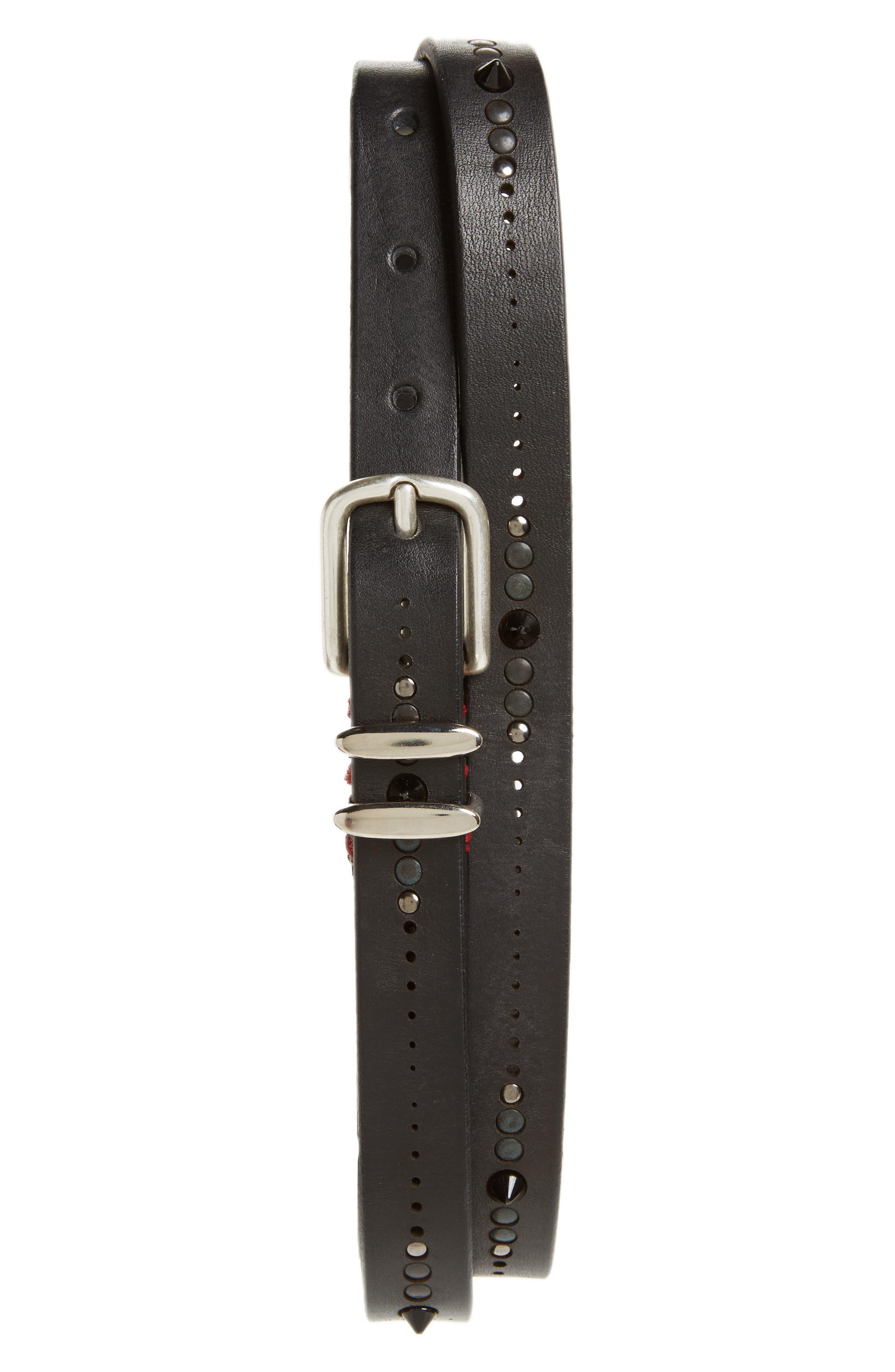 Studded Leather Belt,                         Main,                         color, 001