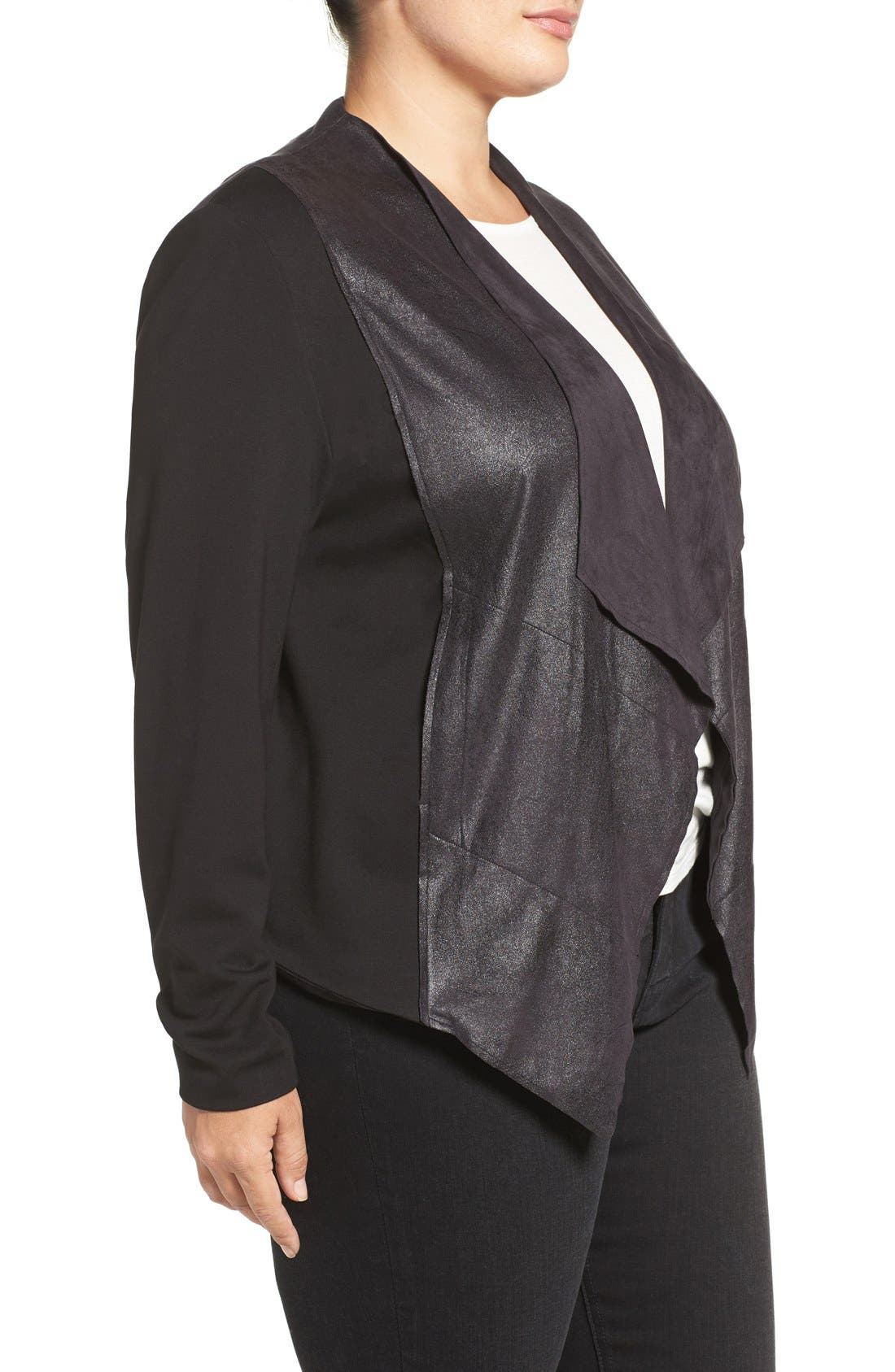 'Shanan' Faux Leather & Knit Drape Front Jacket,                             Alternate thumbnail 3, color,                             BLACK