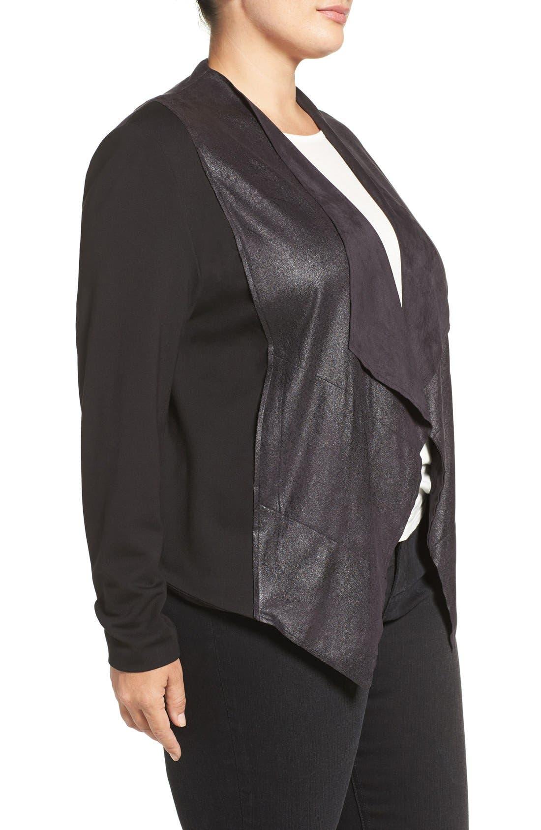 'Shanan' Faux Leather & Knit Drape Front Jacket,                             Alternate thumbnail 3, color,                             001