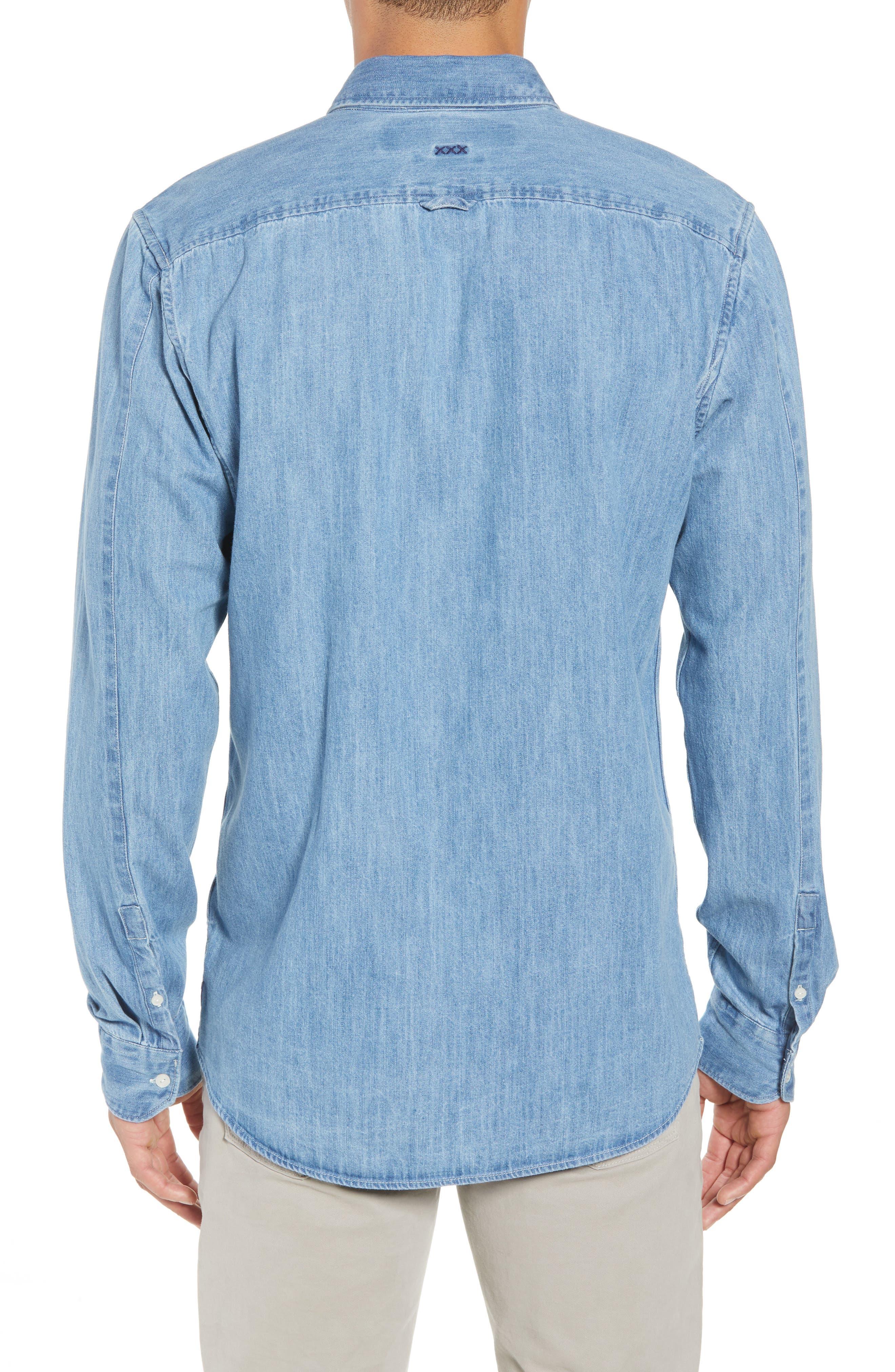 Amsterdams Blauw Pocket Square Chambray Sport Shirt,                             Alternate thumbnail 2, color,                             DENIM BLUE