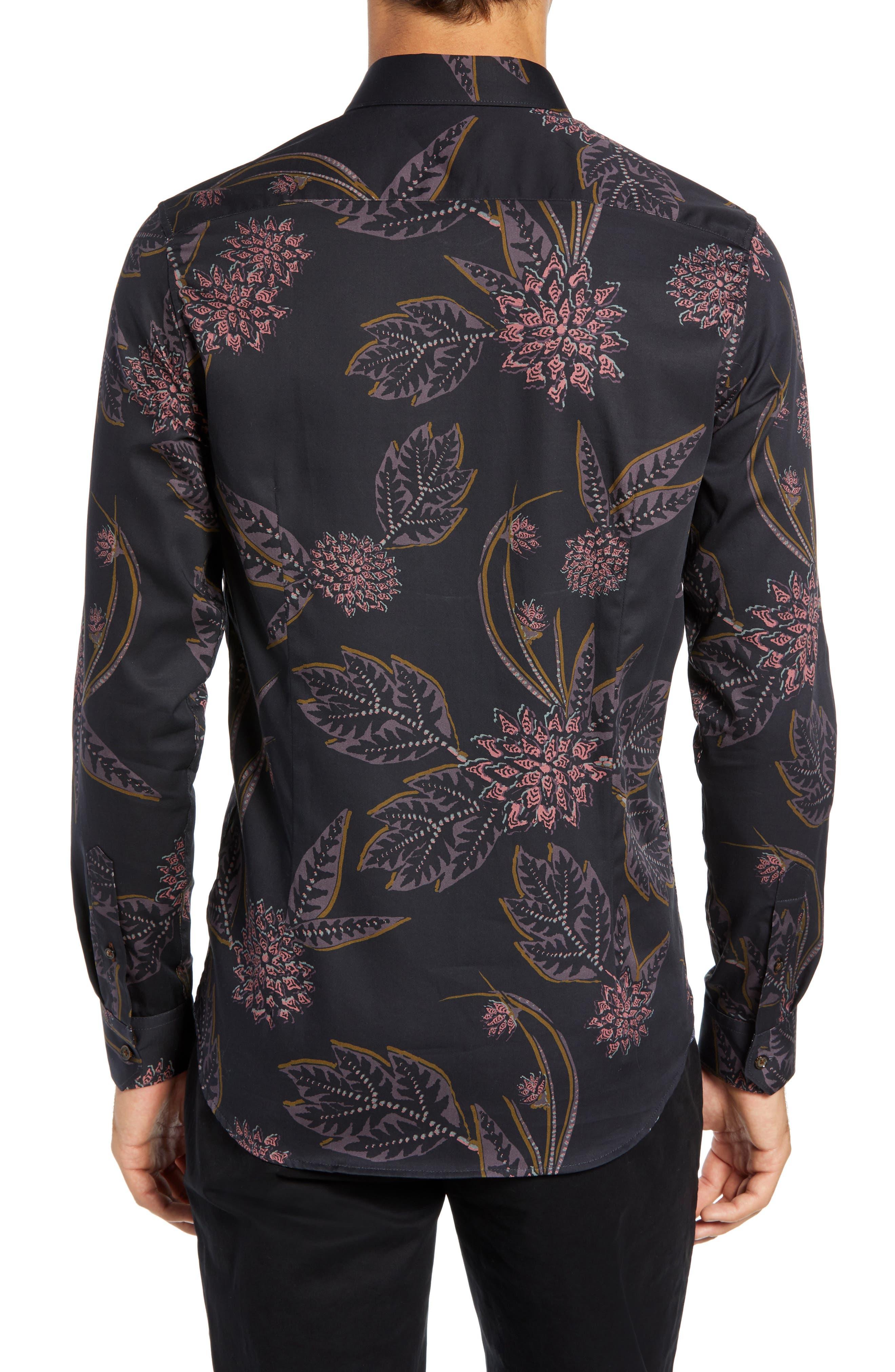 Notting Slim Fit Floral Sport Shirt,                             Alternate thumbnail 3, color,                             NAVY