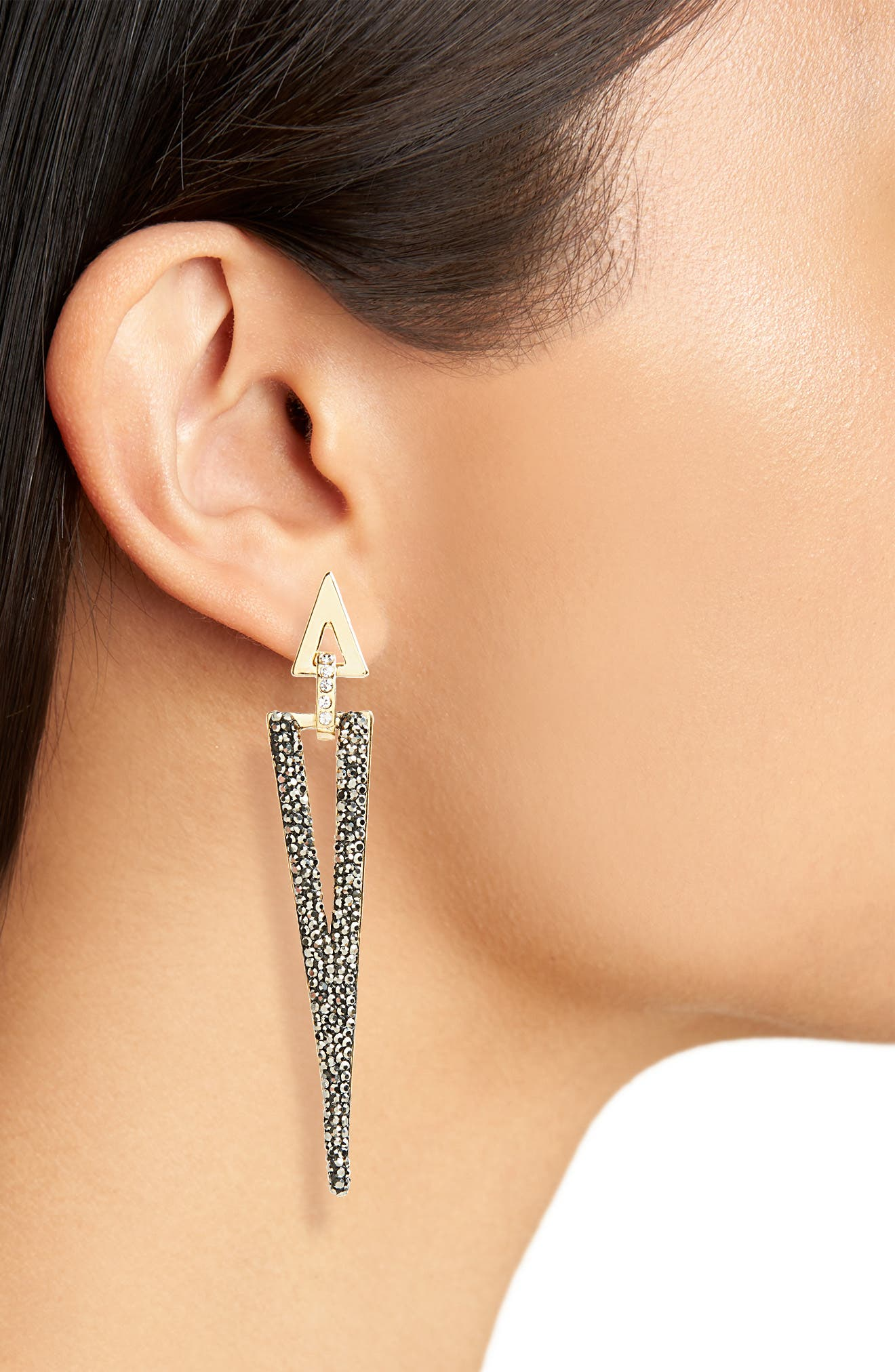 Linear Luxe Triangle Earrings,                             Alternate thumbnail 2, color,                             020