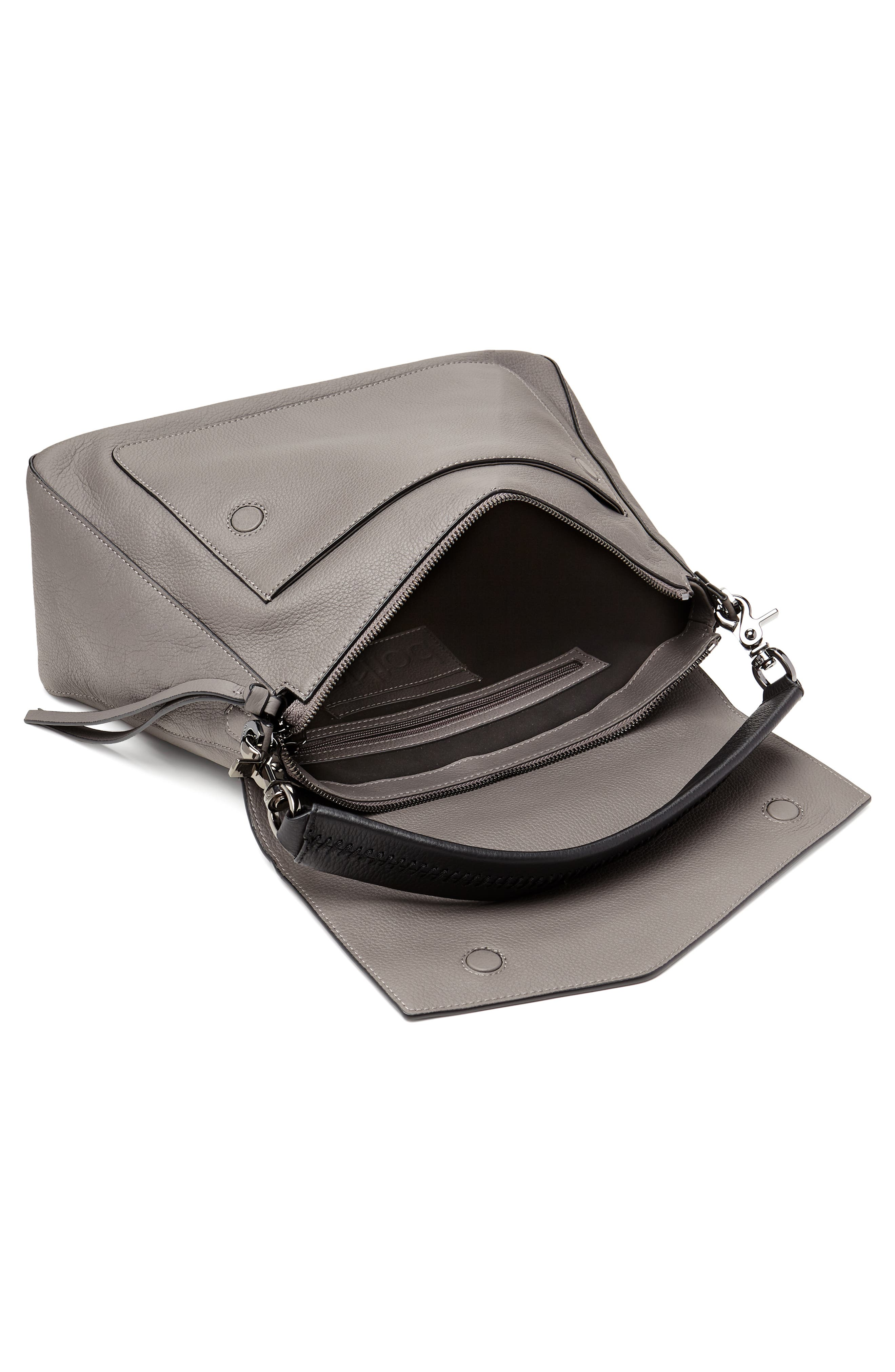 Cobble Hill Slouch Calfskin Leather Hobo,                             Alternate thumbnail 3, color,                             WINTER GREY