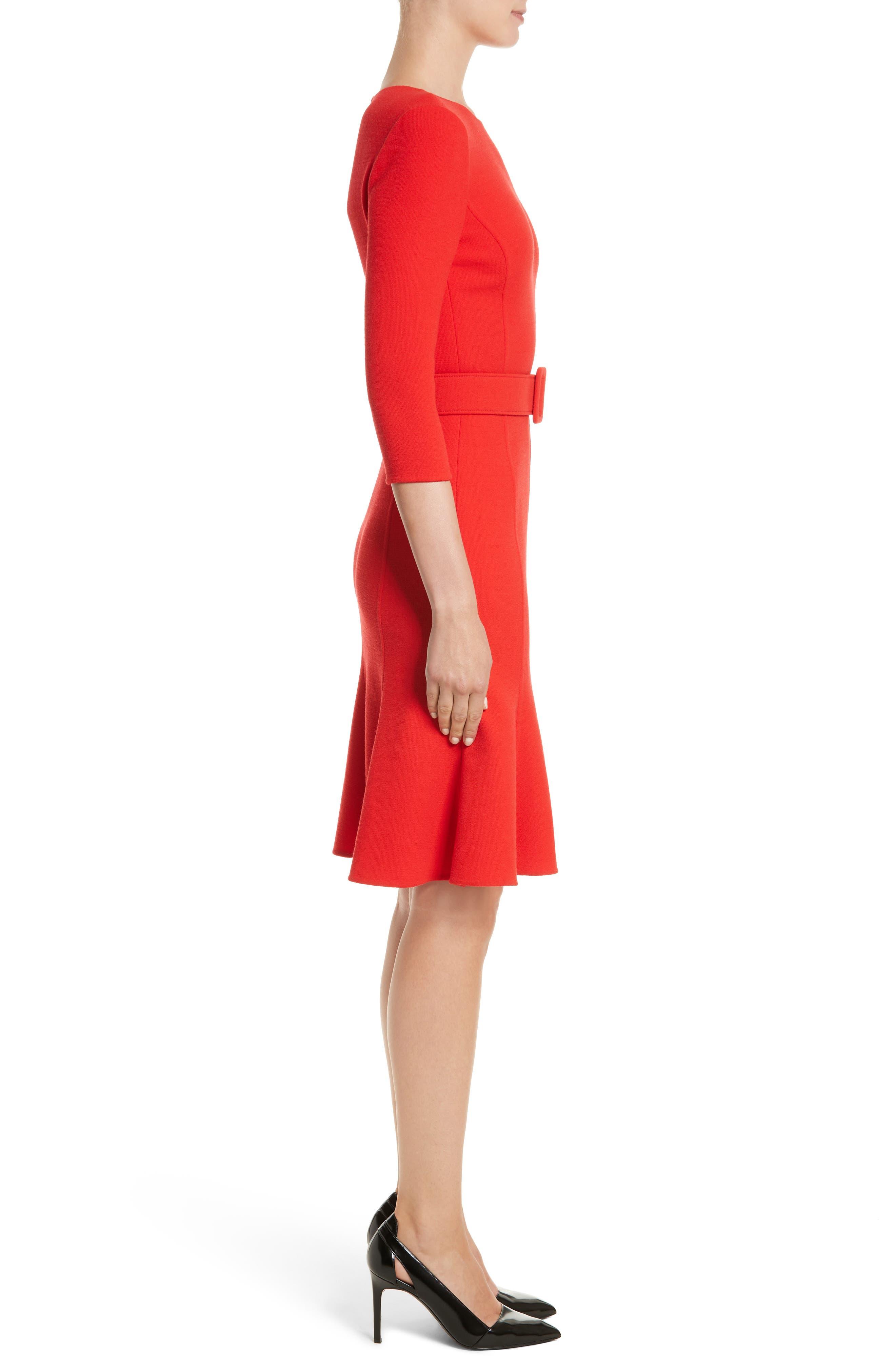Crepe Fit & Flare Dress,                             Alternate thumbnail 3, color,                             620
