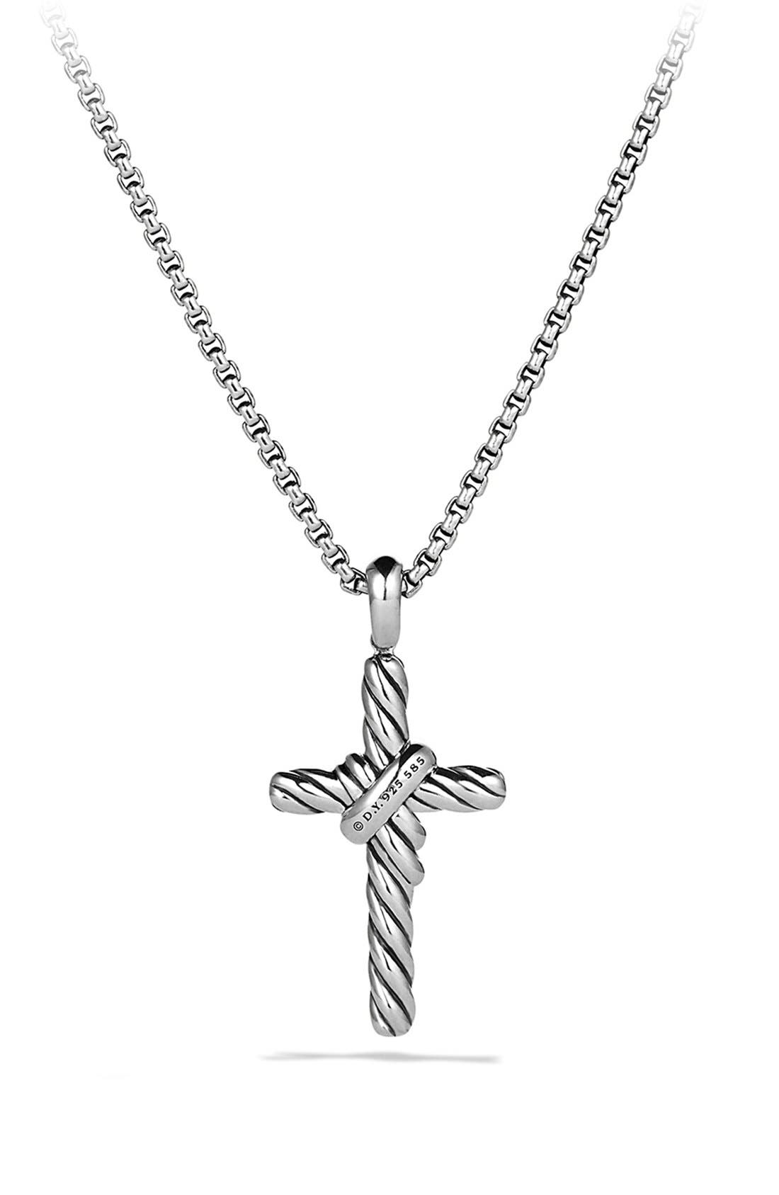 'X' Cross with Diamonds and Gold on Chain,                             Alternate thumbnail 3, color,                             DIAMOND