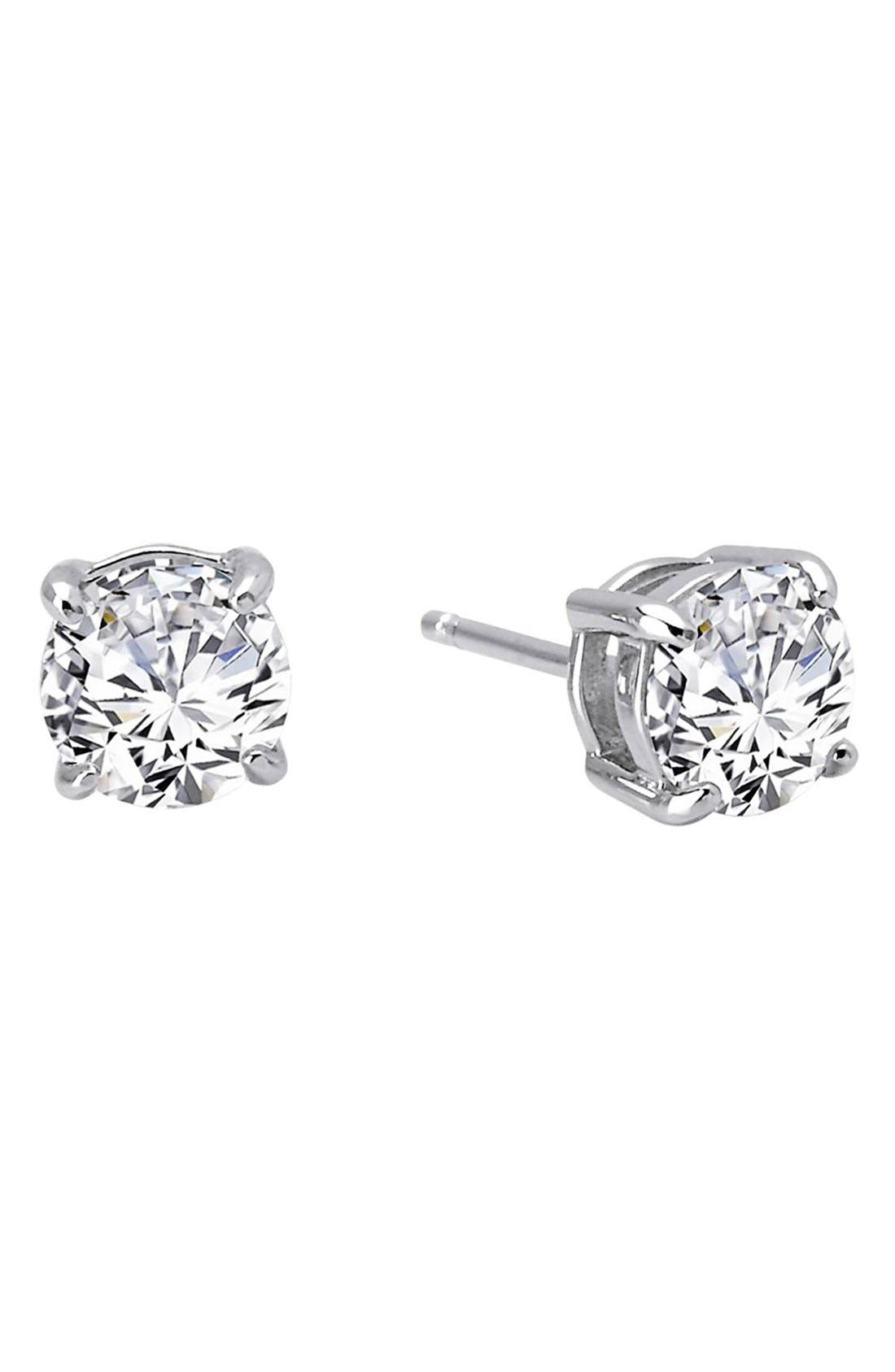 'Lassaire' Four Prong Stud Earrings,                             Main thumbnail 1, color,                             SILVER