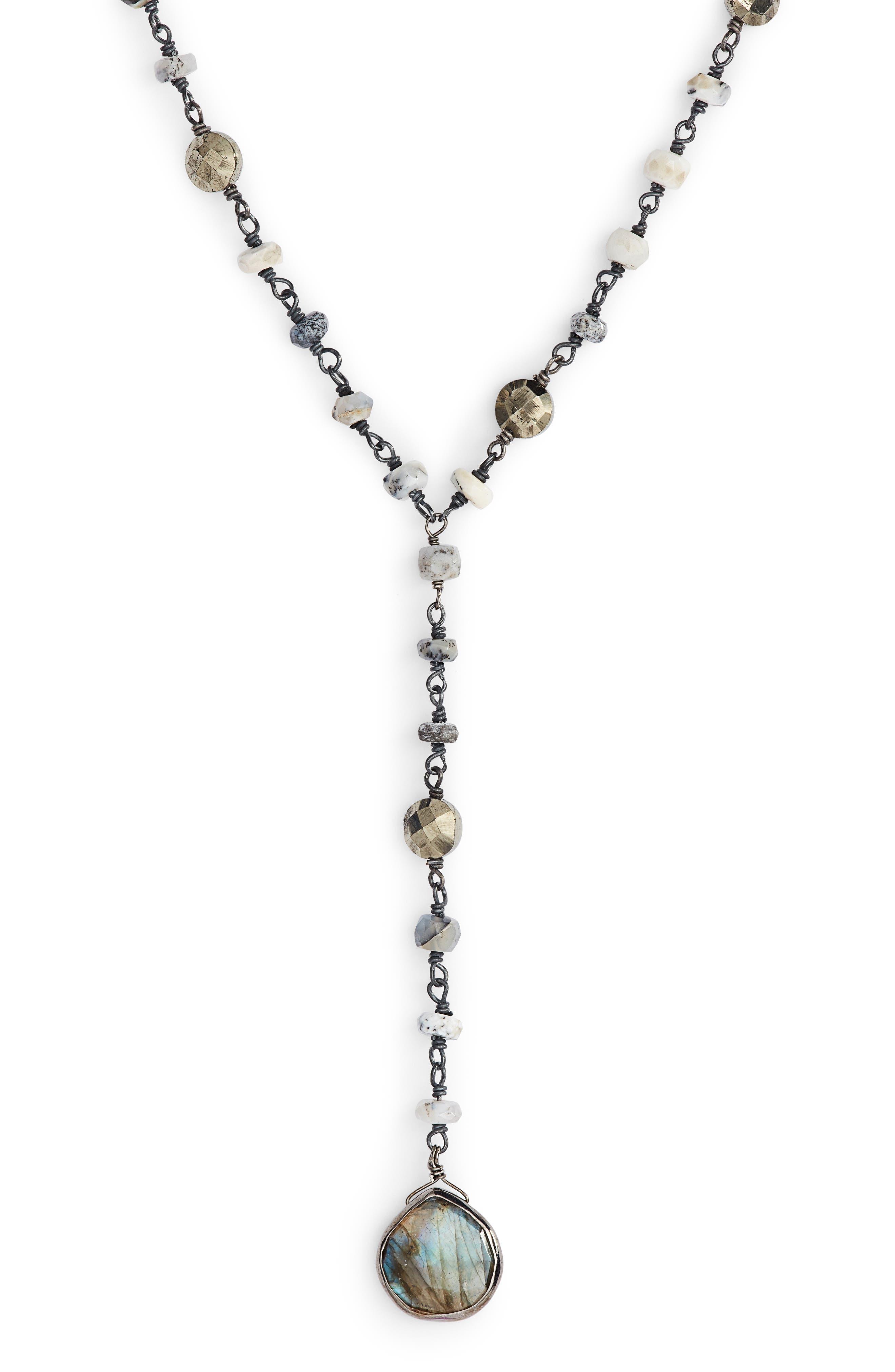 Yaeli Semiprecious Y-Necklace,                             Main thumbnail 1, color,                             DENDRITE OPAL/ LABRADORITE