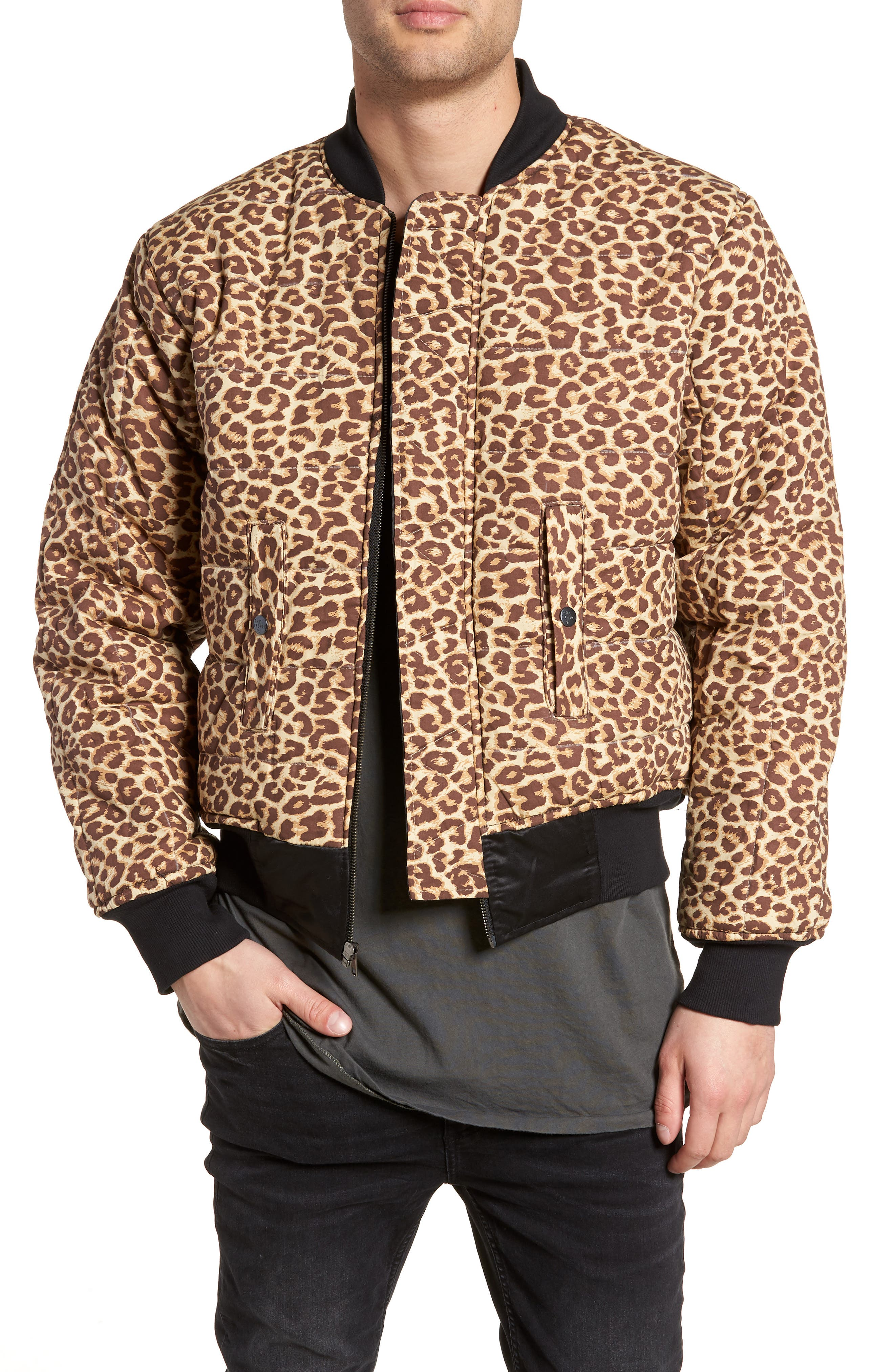 Maverick Reversible Bomber Jacket,                             Alternate thumbnail 2, color,                             BLACK/ JUNGLE CAT