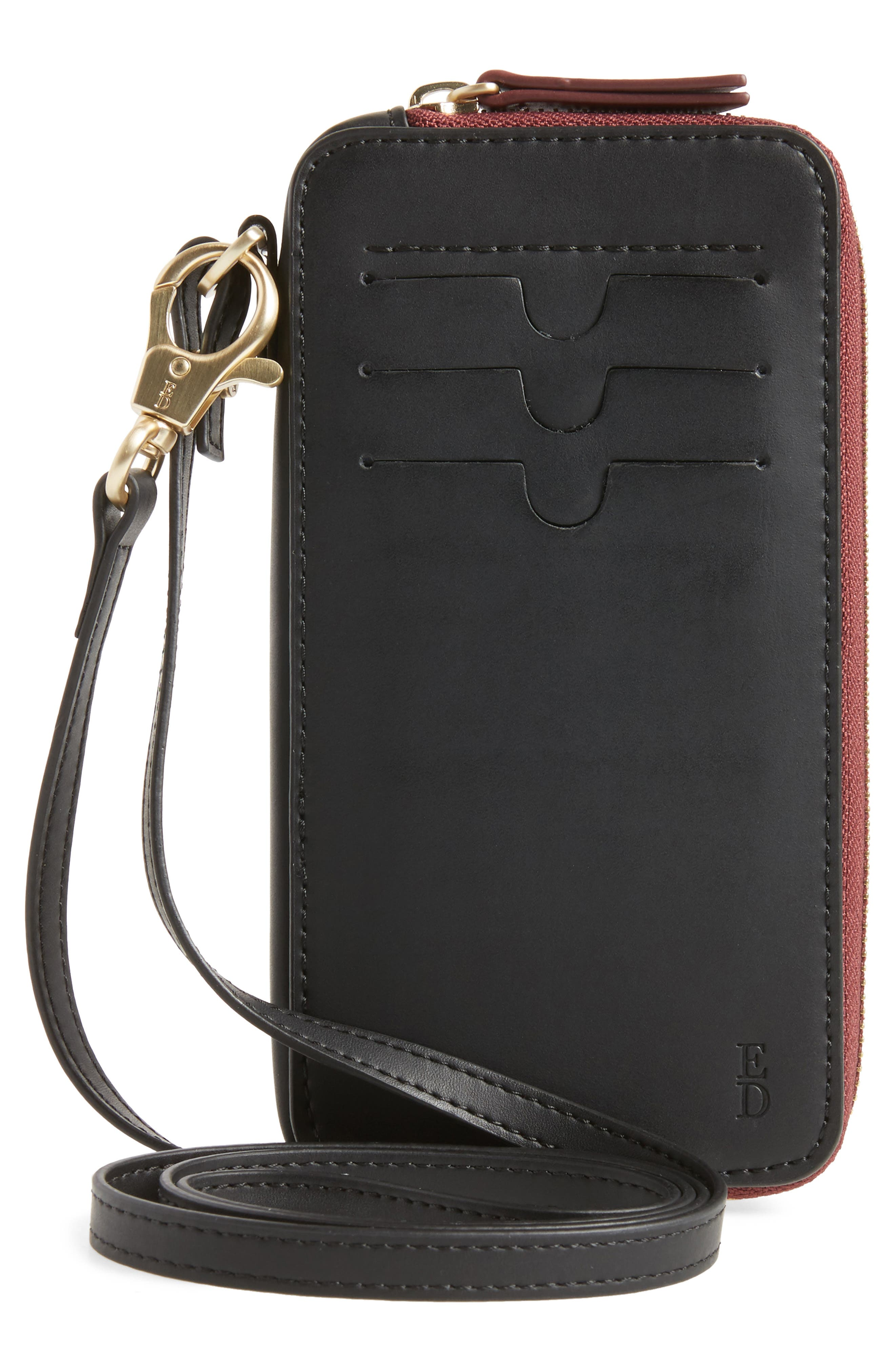 Brea Convertible Smartphone Leather Clutch,                             Alternate thumbnail 3, color,                             001