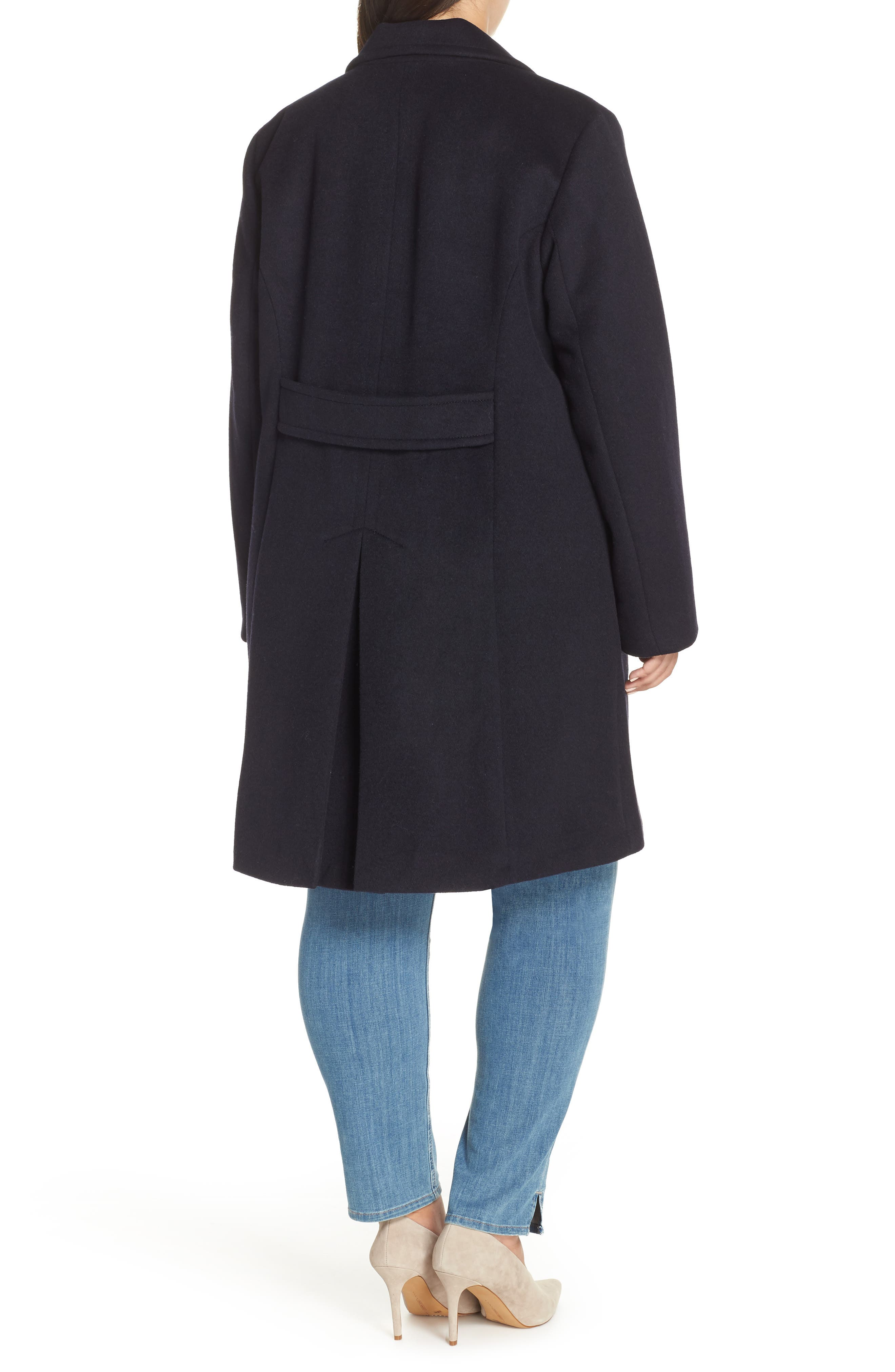 Wool Blend Notch Collar Coat,                             Alternate thumbnail 2, color,                             NAVY